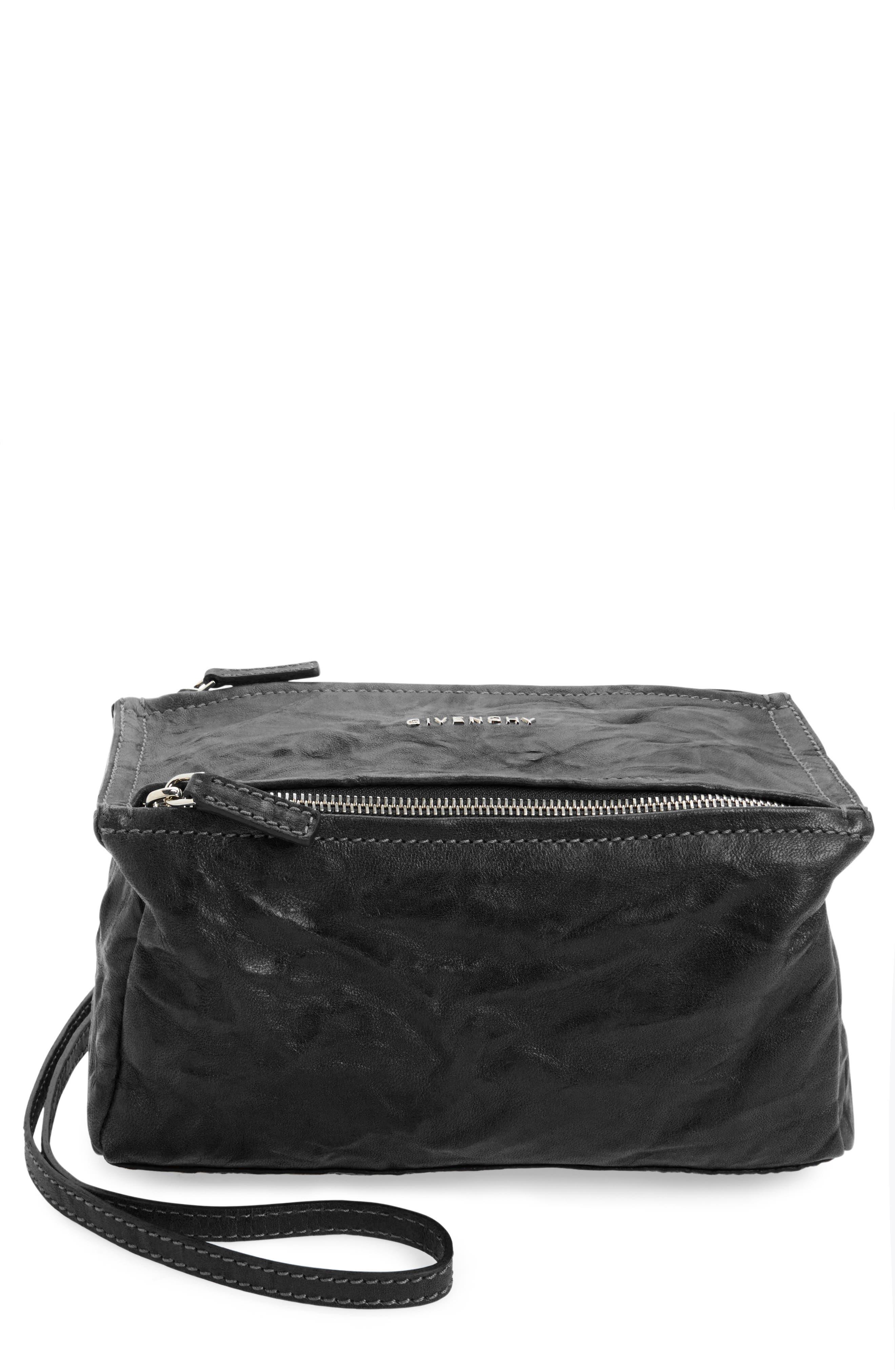 'Mini Pepe Pandora' Leather Shoulder Bag, Main, color, BLACK