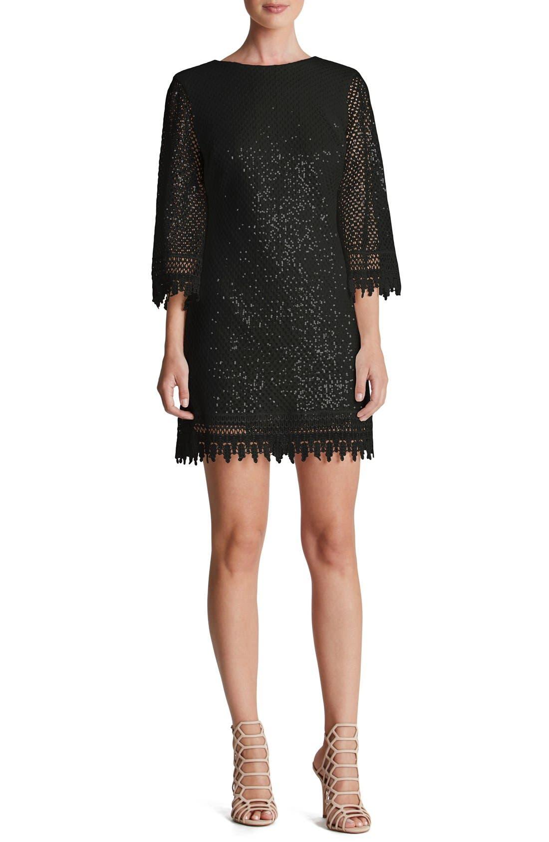 'Phoebe' Sequin Crochet Shift Dress,                             Main thumbnail 1, color,                             001