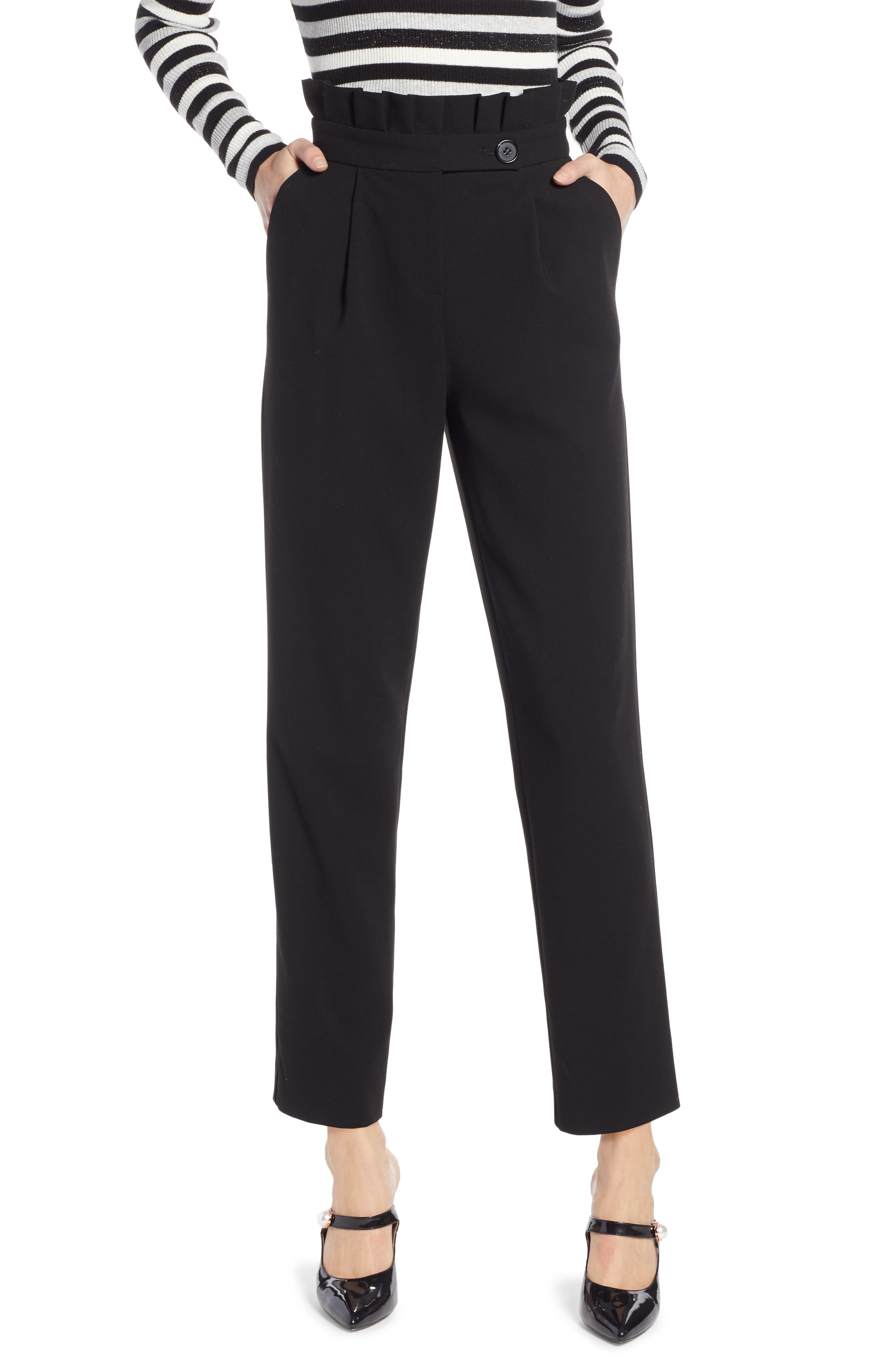 x Atlantic-Pacific Ruffle Waist Ankle Pants,                         Main,                         color, 001