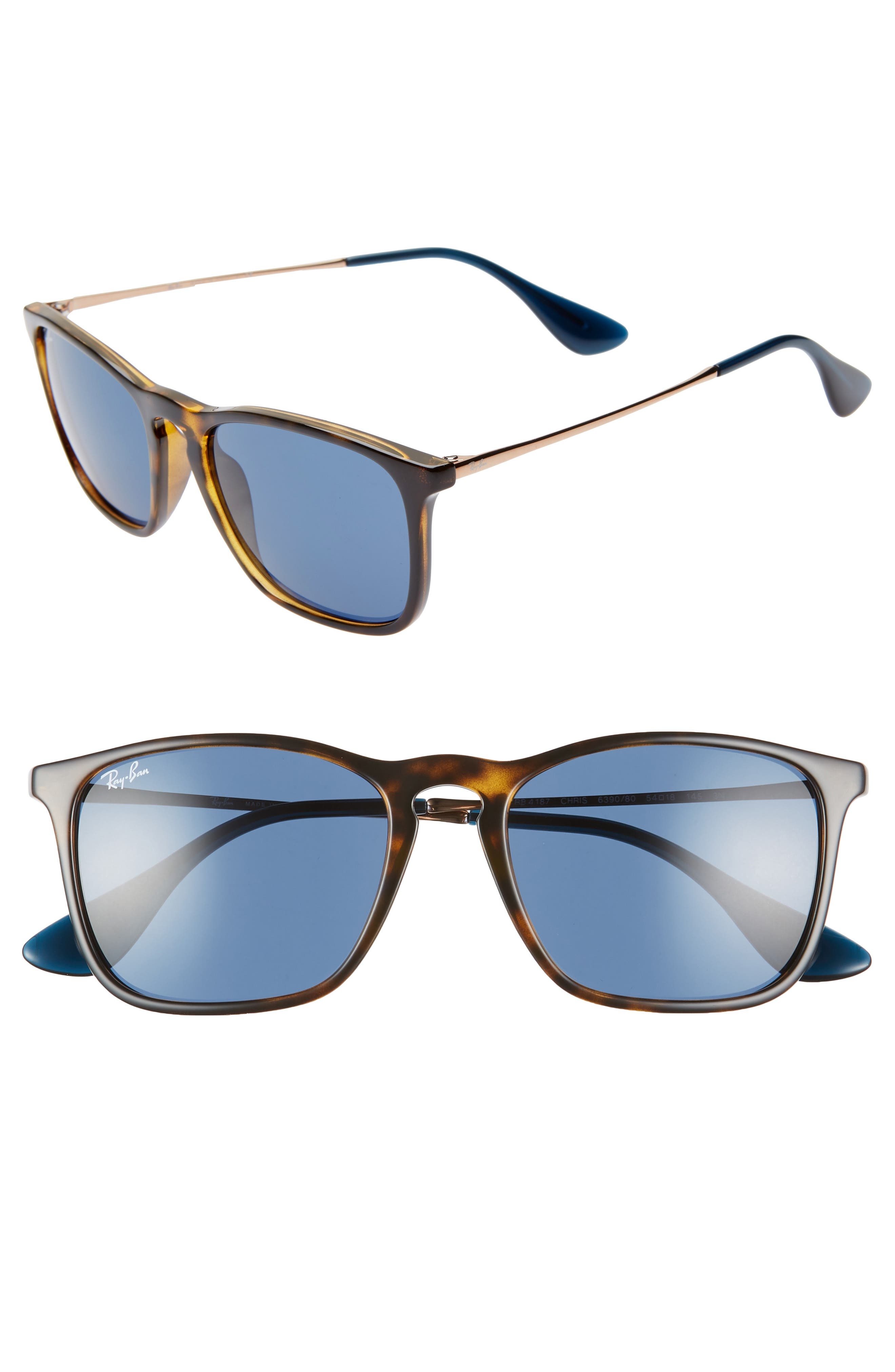 Ray-Ban Youngster 5m Square Keyhole Sunglasses - Tortoise/ Blue Solid