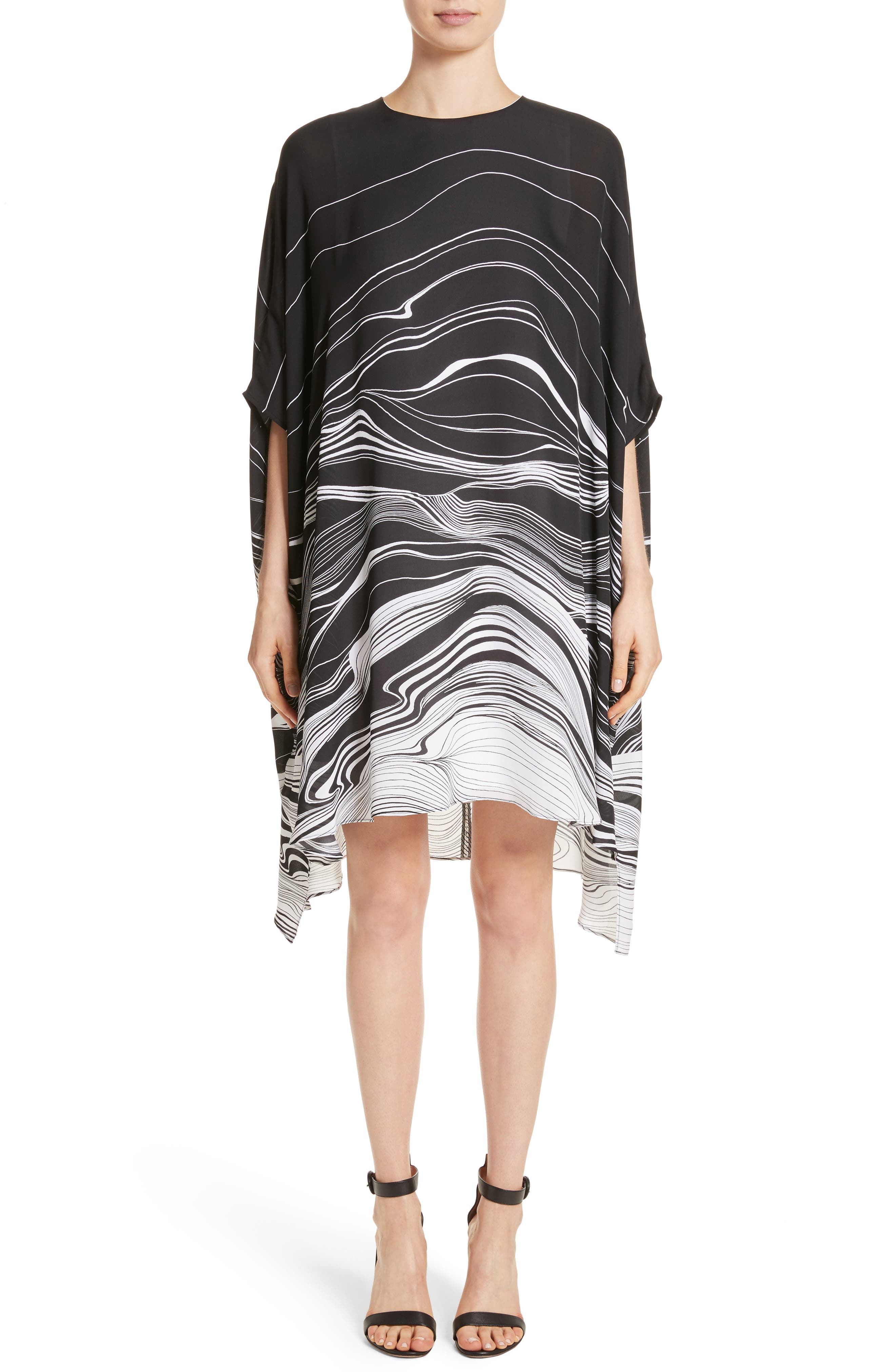 Brushstroke Print Silk Satin Dress,                             Main thumbnail 1, color,                             001