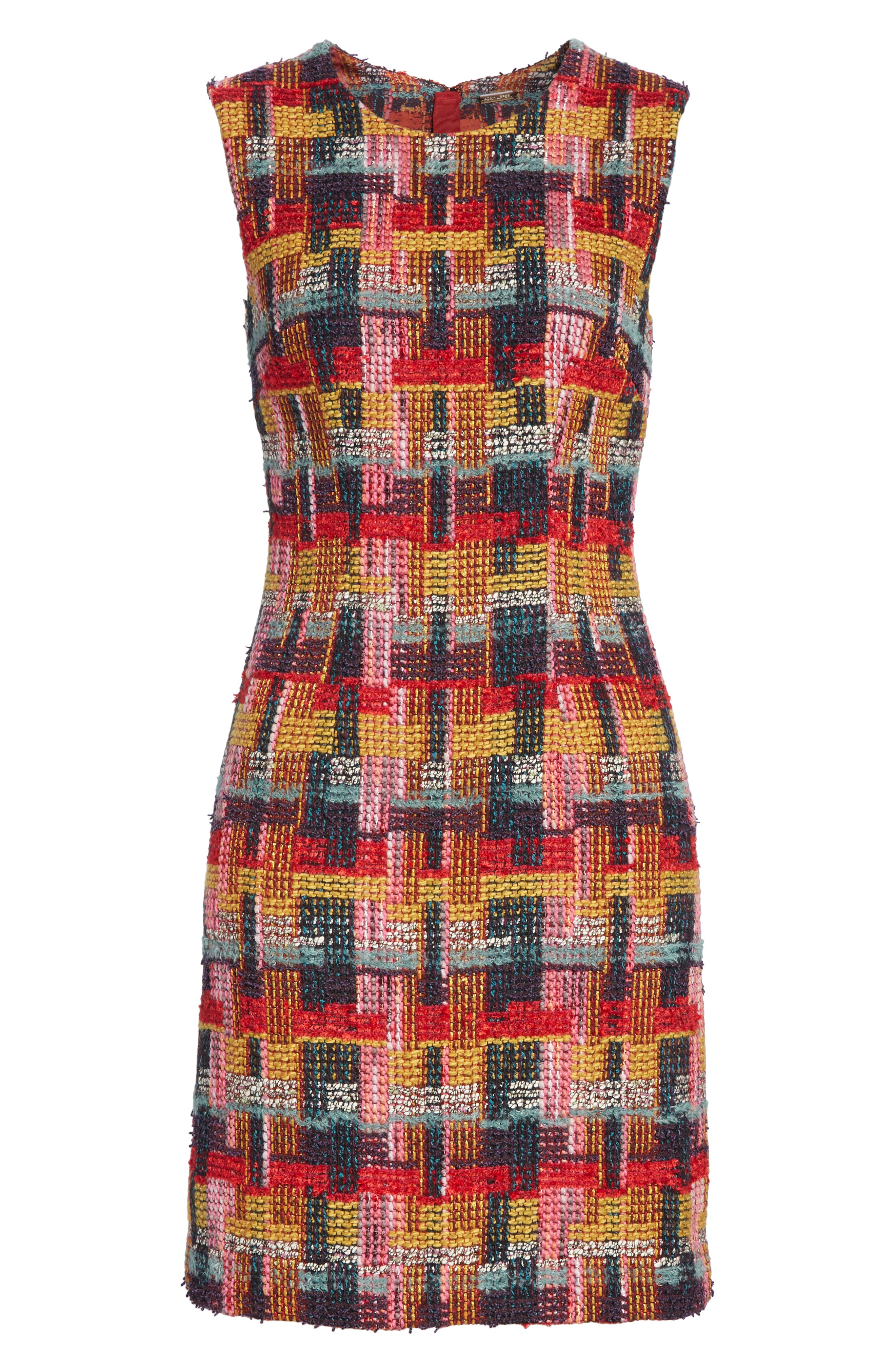Multicolor Tweed Sheath Dress,                             Alternate thumbnail 8, color,                             RED
