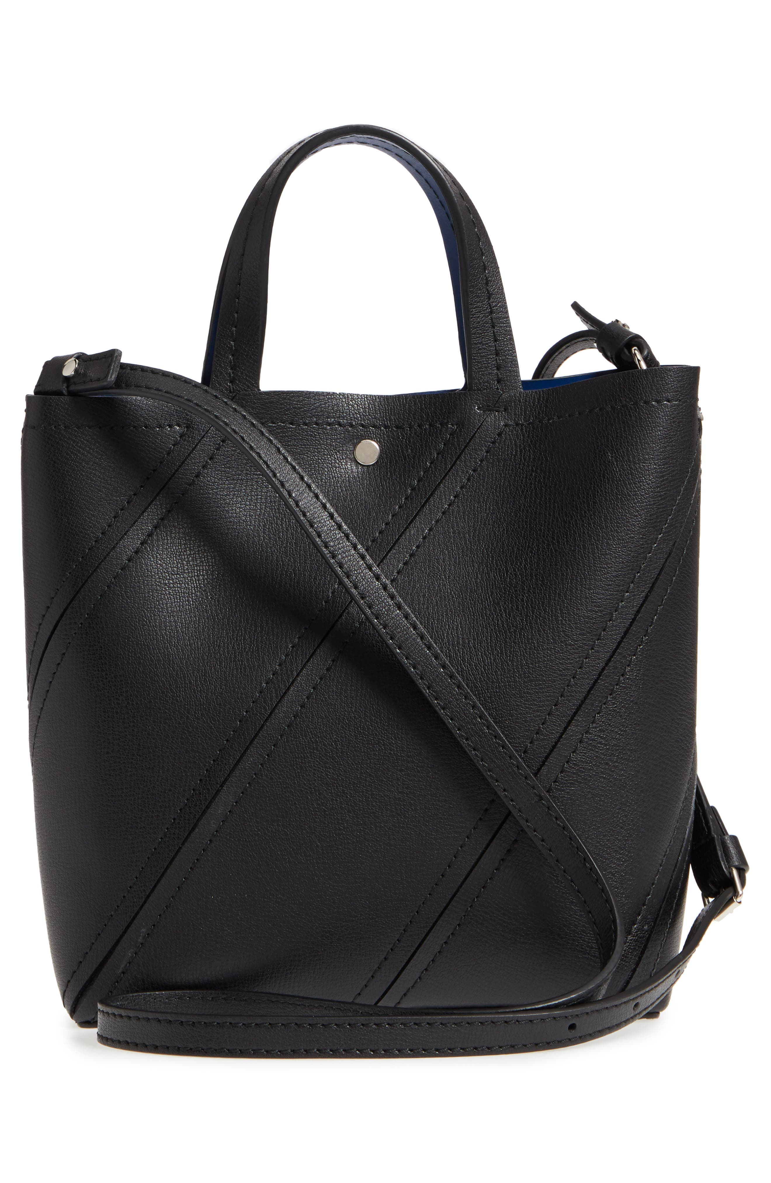 Mini Hex Whipstitch Calfskin Leather Tote,                             Alternate thumbnail 3, color,                             BLACK