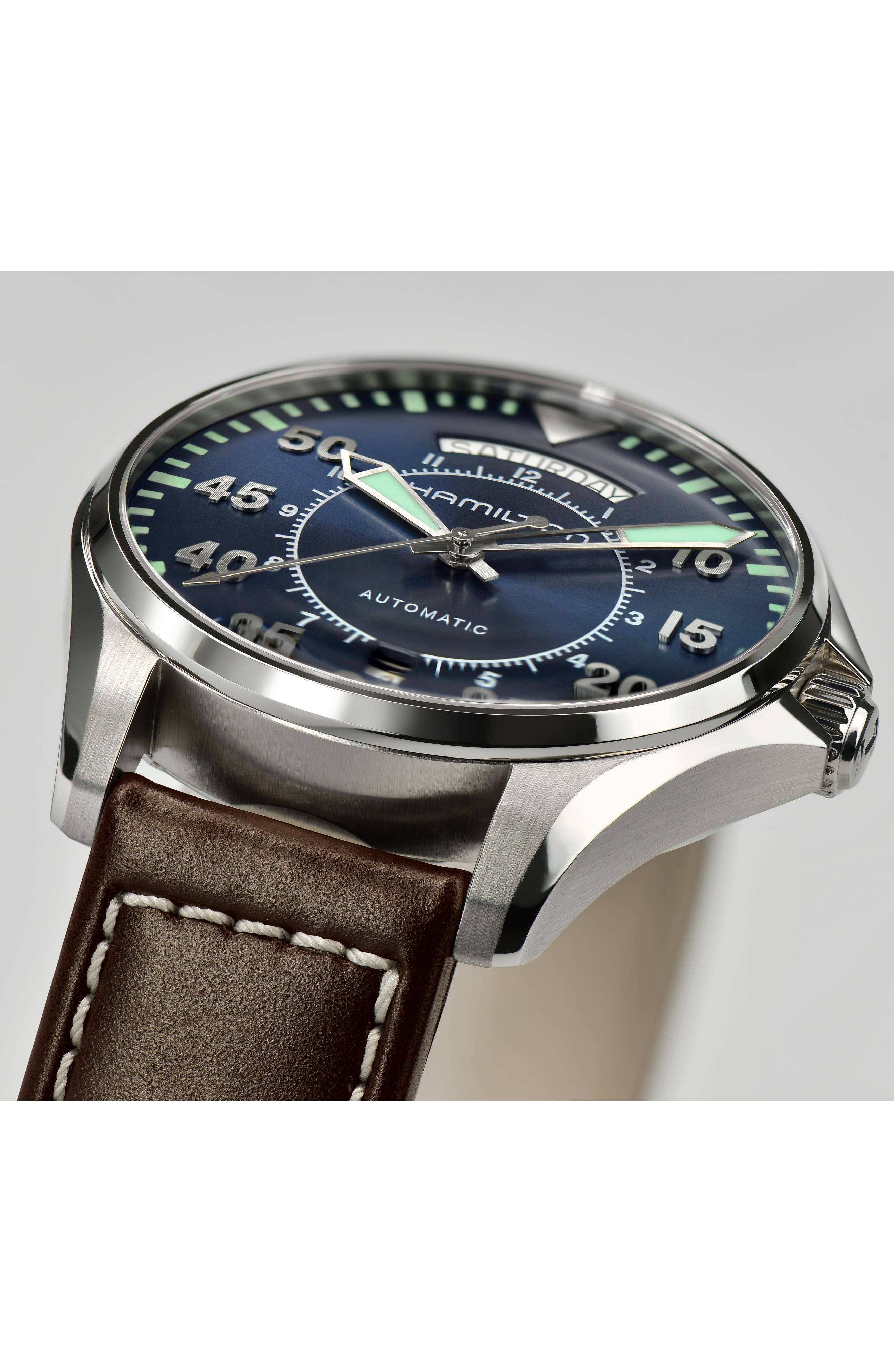 Khaki Pilot Automatic Leather Strap Watch, 42mm,                             Alternate thumbnail 3, color,                             BROWN/ NAVY/ SILVER