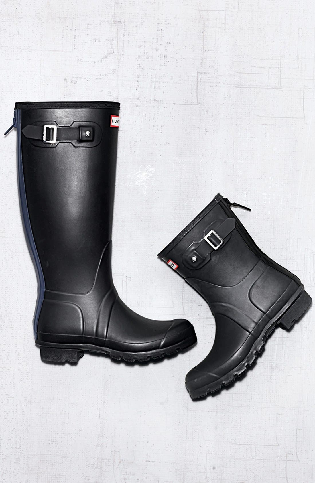 'Tall' Back Zip Rain Boot,                             Alternate thumbnail 5, color,                             001