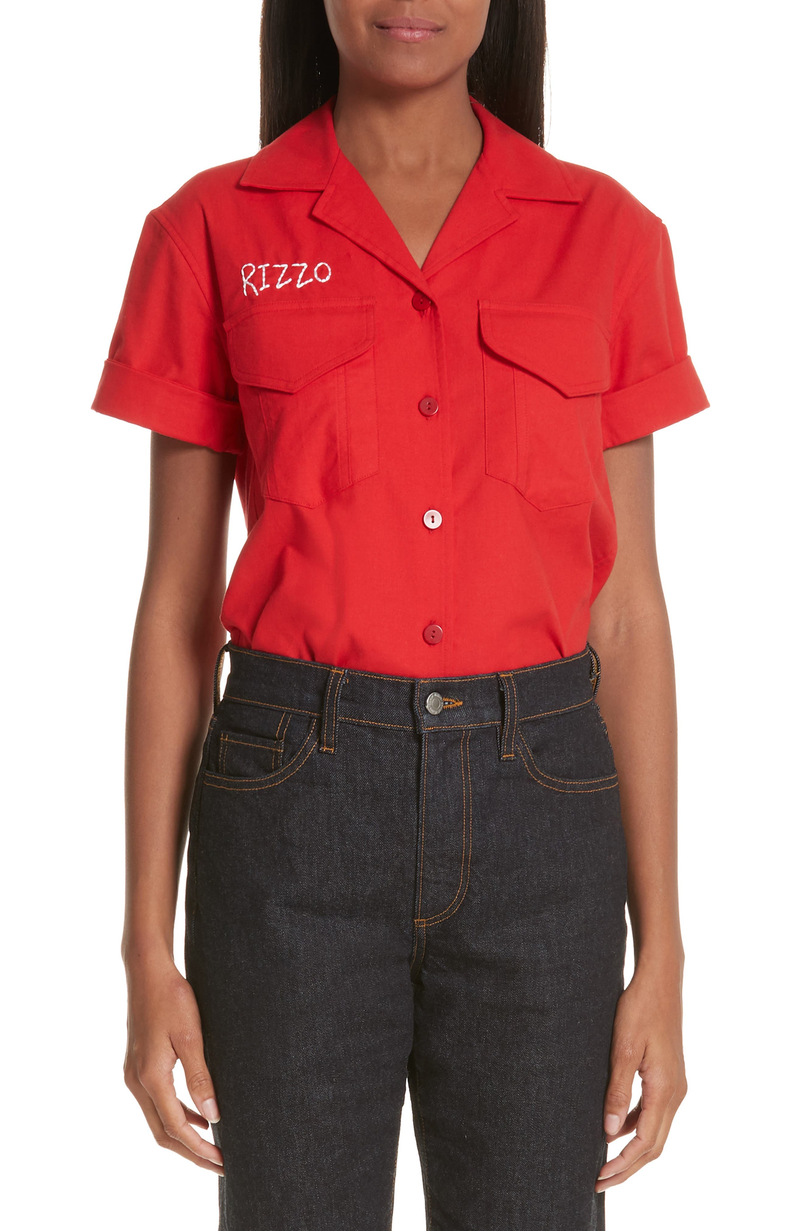 x Paramount Grease Rizzo Embroidered Mechanic Shirt,                             Main thumbnail 1, color,                             RIZZO RED