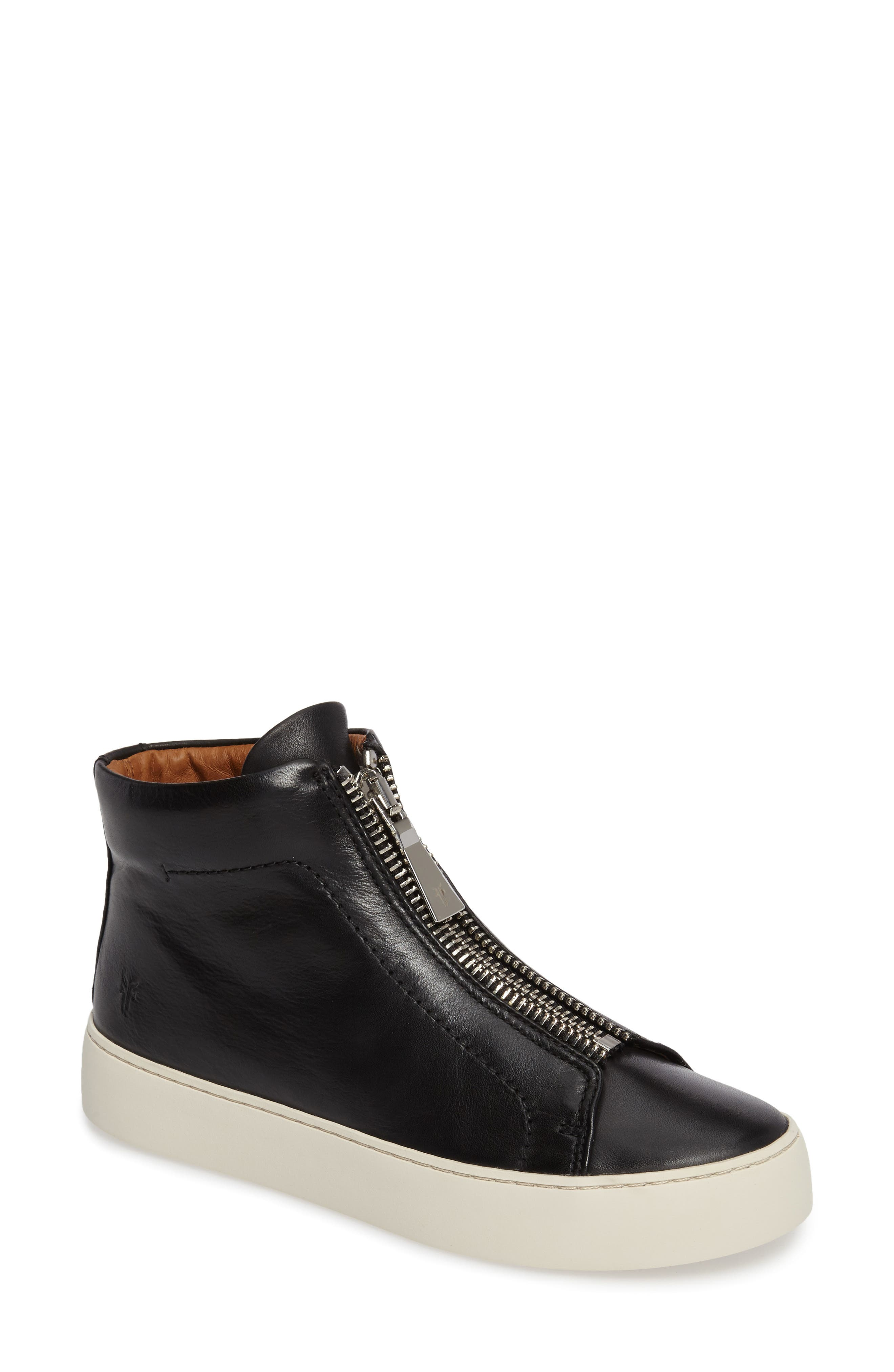 Women'S Lena Zip Up Leather High Top Sneakers in Black Leather