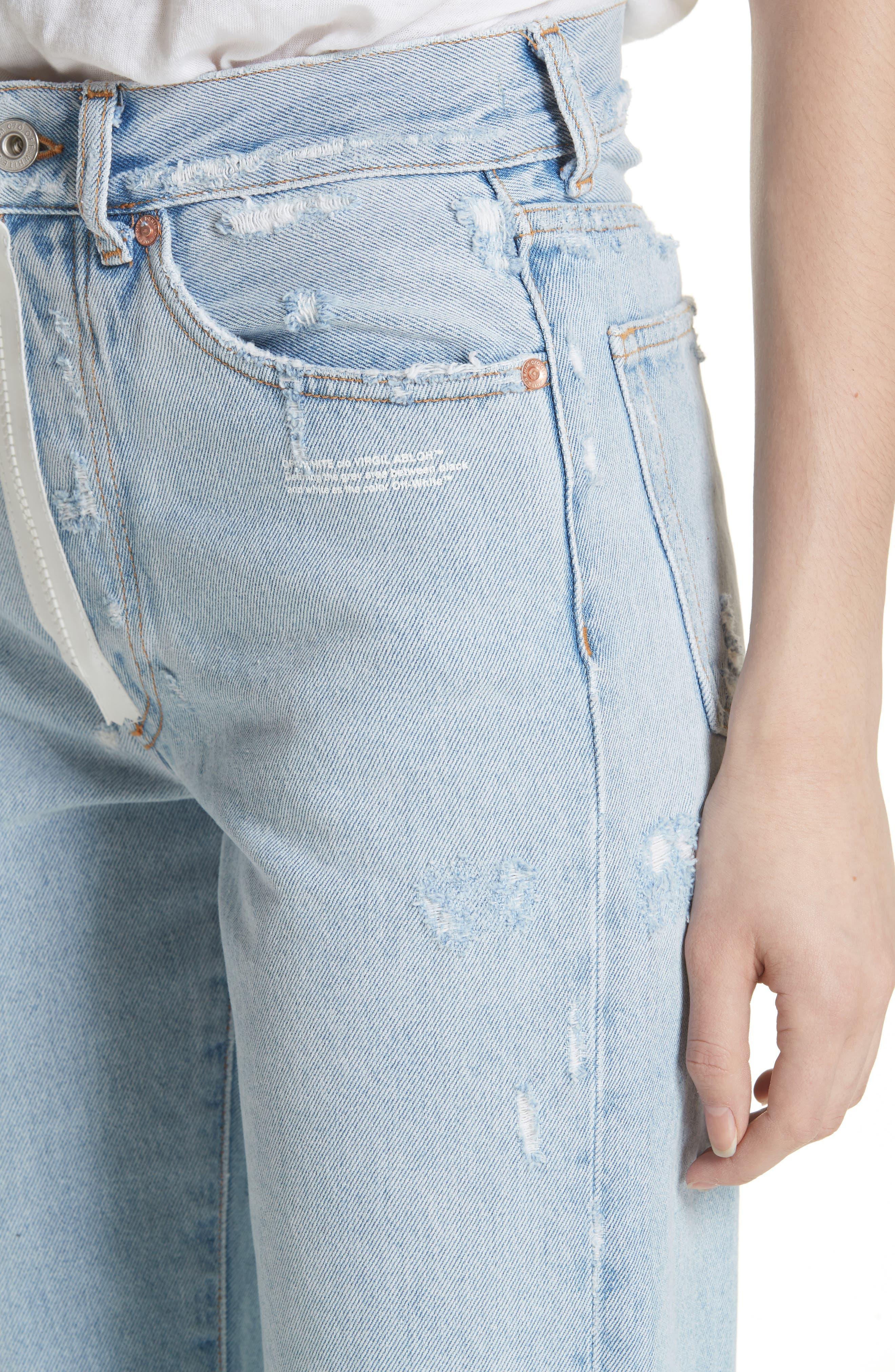 Distressed Straight Leg Jeans,                             Alternate thumbnail 4, color,                             400