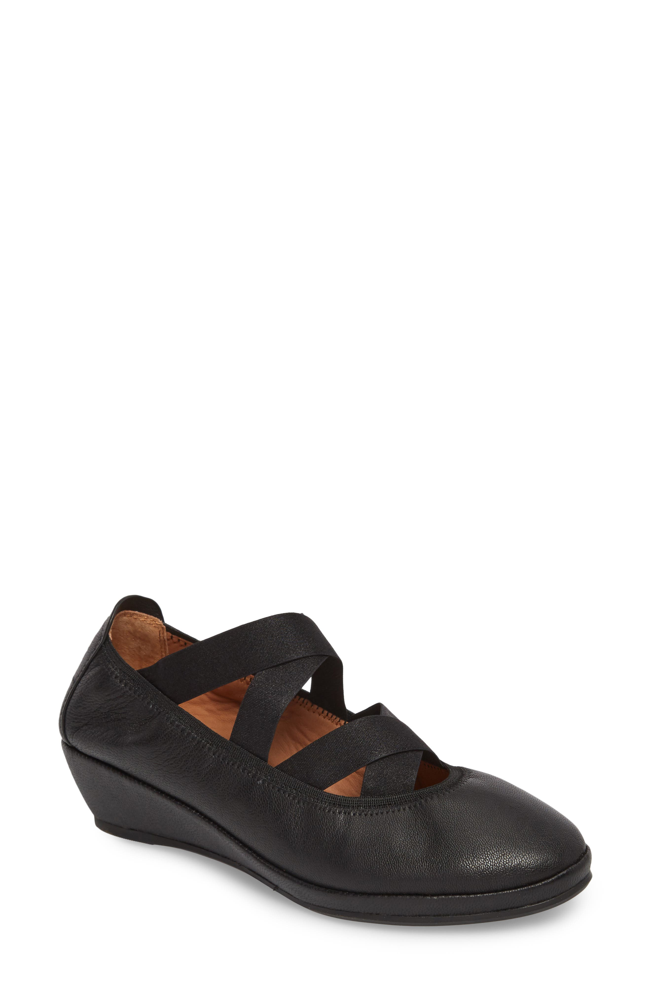 by Kenneth Cole Natalie Ballet Wedge,                             Main thumbnail 1, color,                             BLACK LEATHER