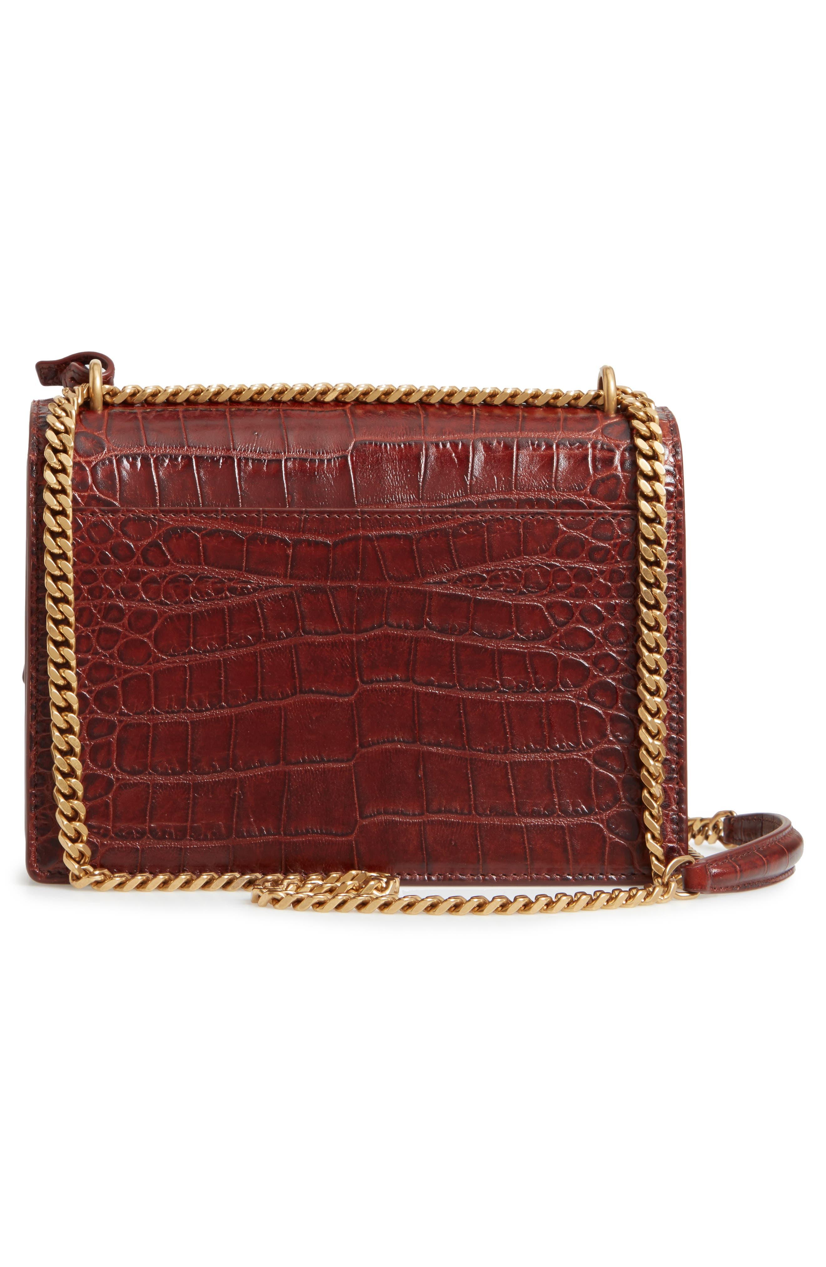 Medium Sunset Croc Embossed Leather Shoulder Bag,                             Alternate thumbnail 3, color,                             930