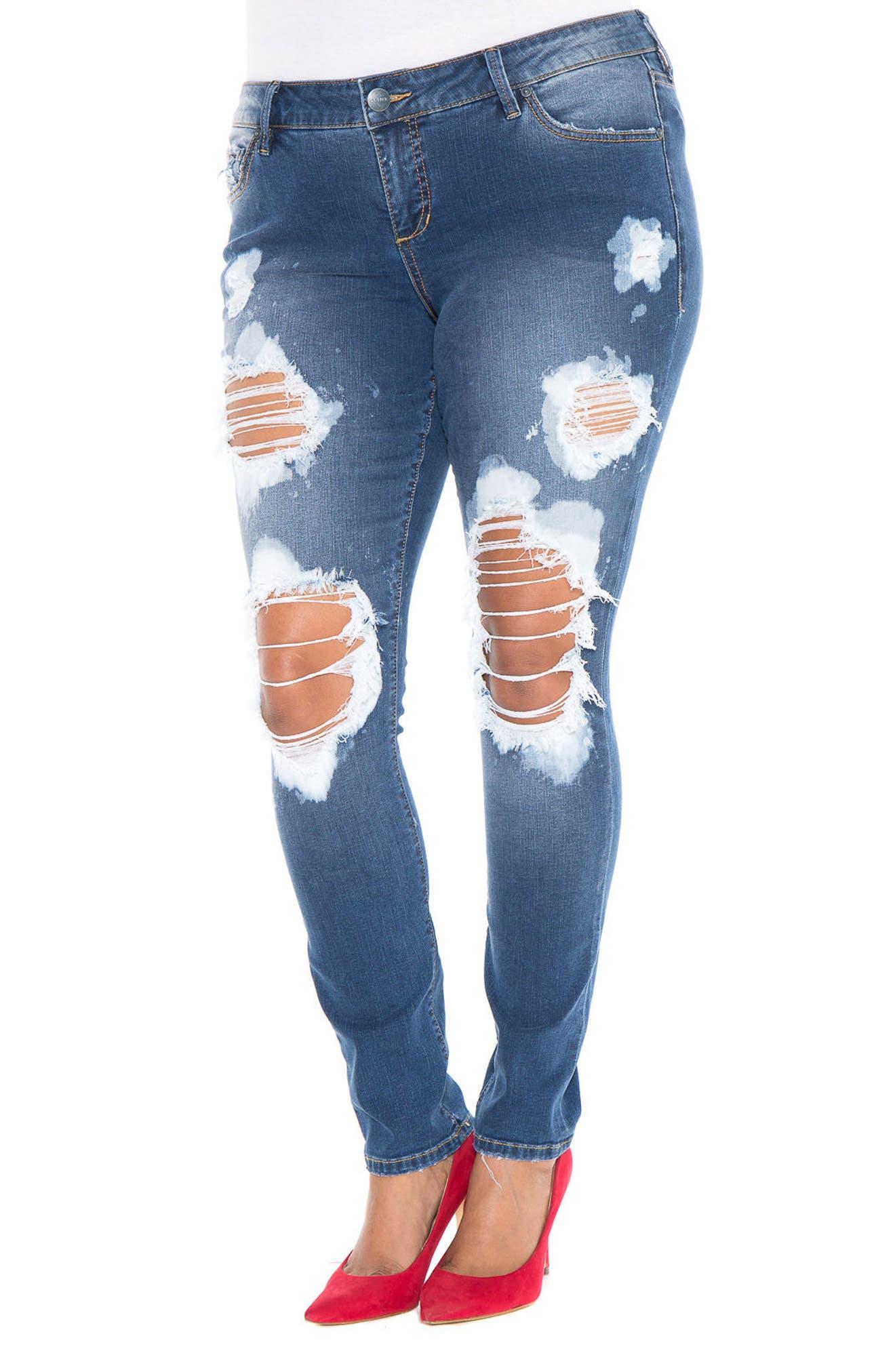 SLINK Destroyed Skinny Jeans,                             Main thumbnail 1, color,                             492