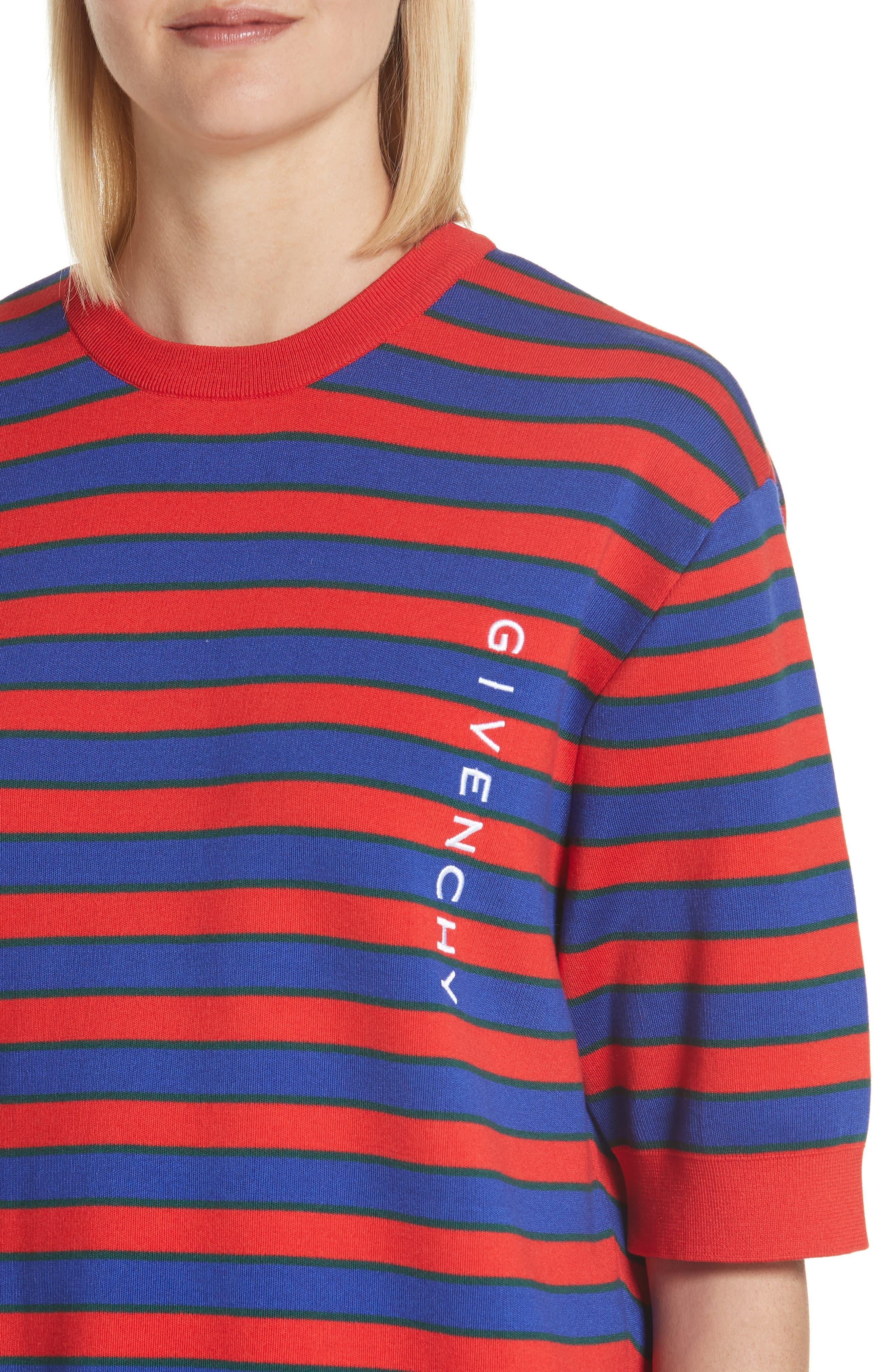 Short Sleeve Stripe Sweater,                             Alternate thumbnail 4, color,                             618