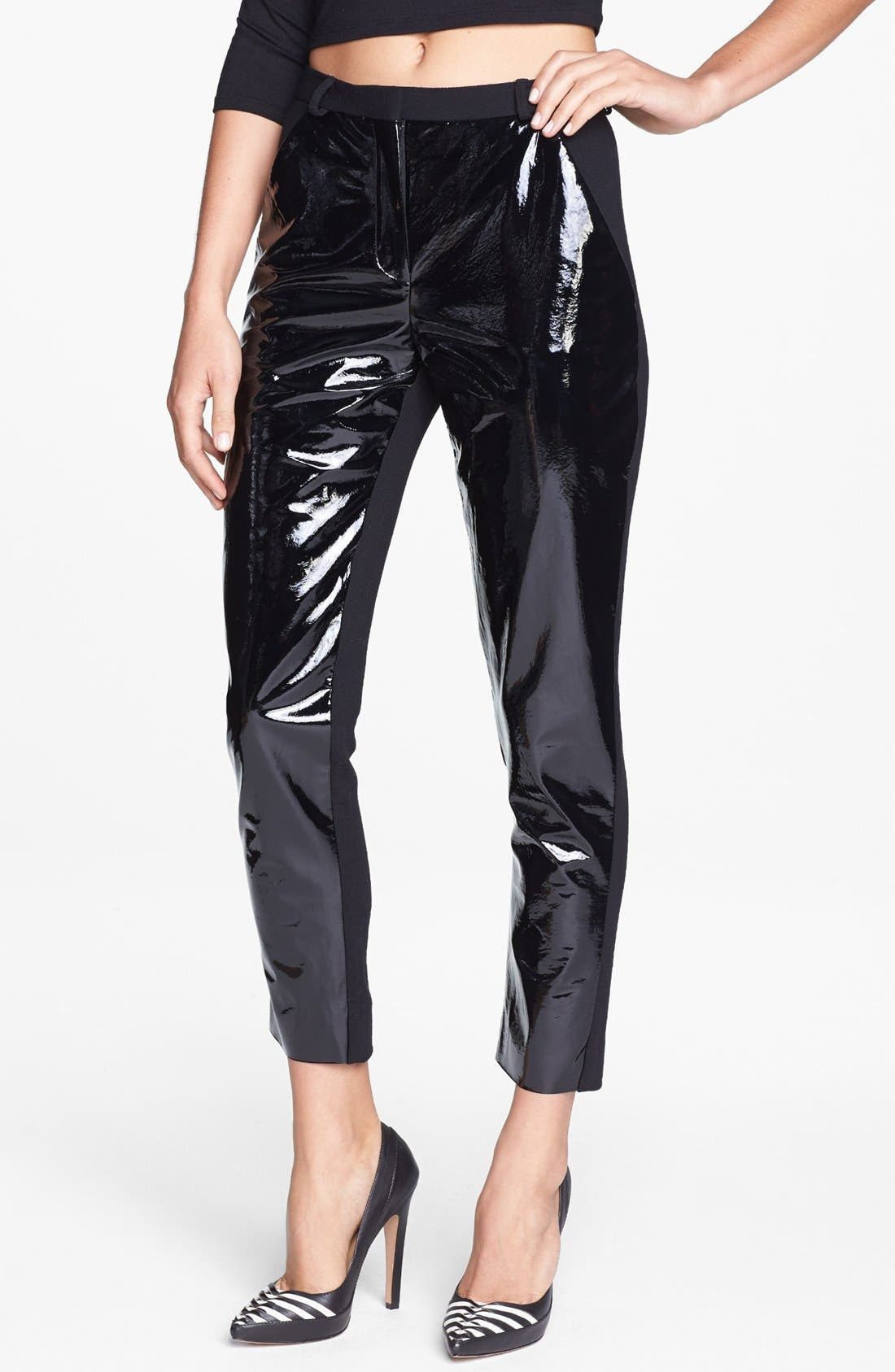 Topshop Patent Leather Panel Trousers, Main, color, 001