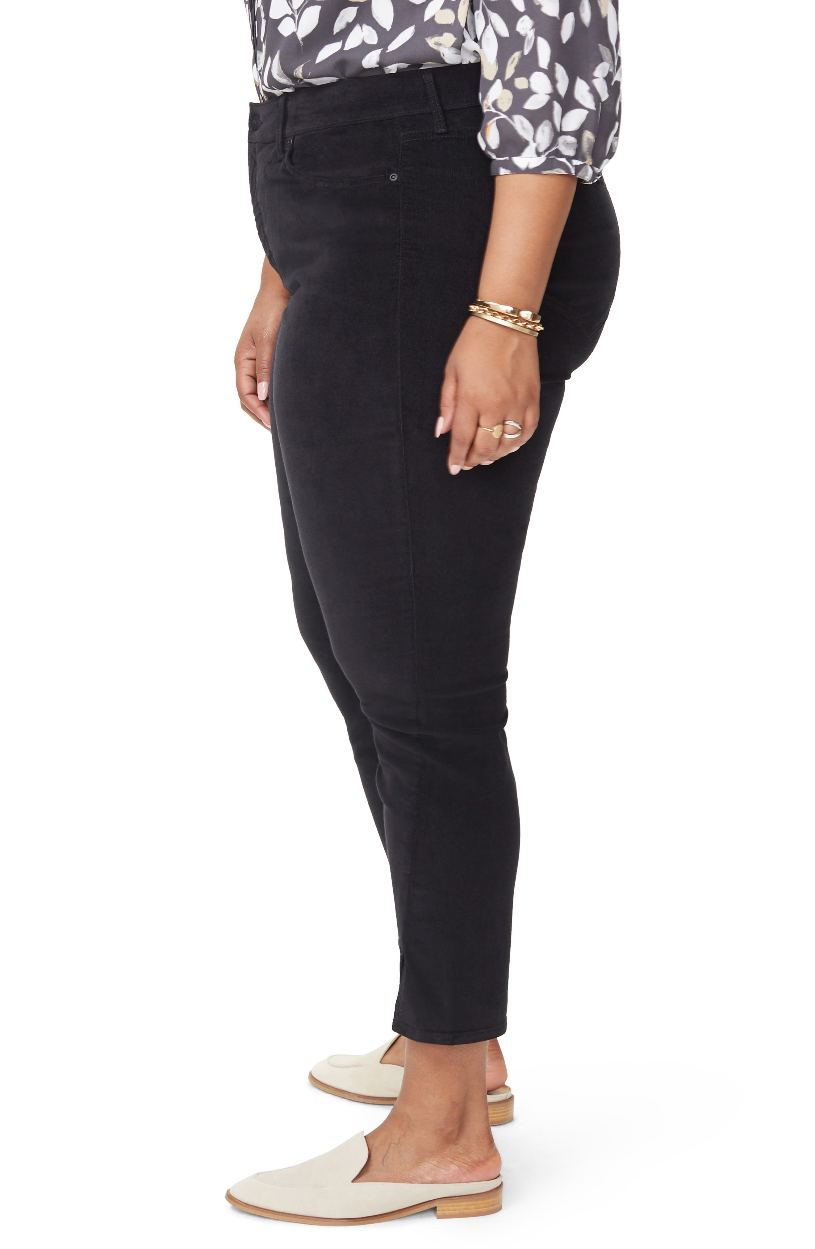 Ami Twist Seam Ankle Slit Velvet Pants,                             Alternate thumbnail 3, color,                             BLACK