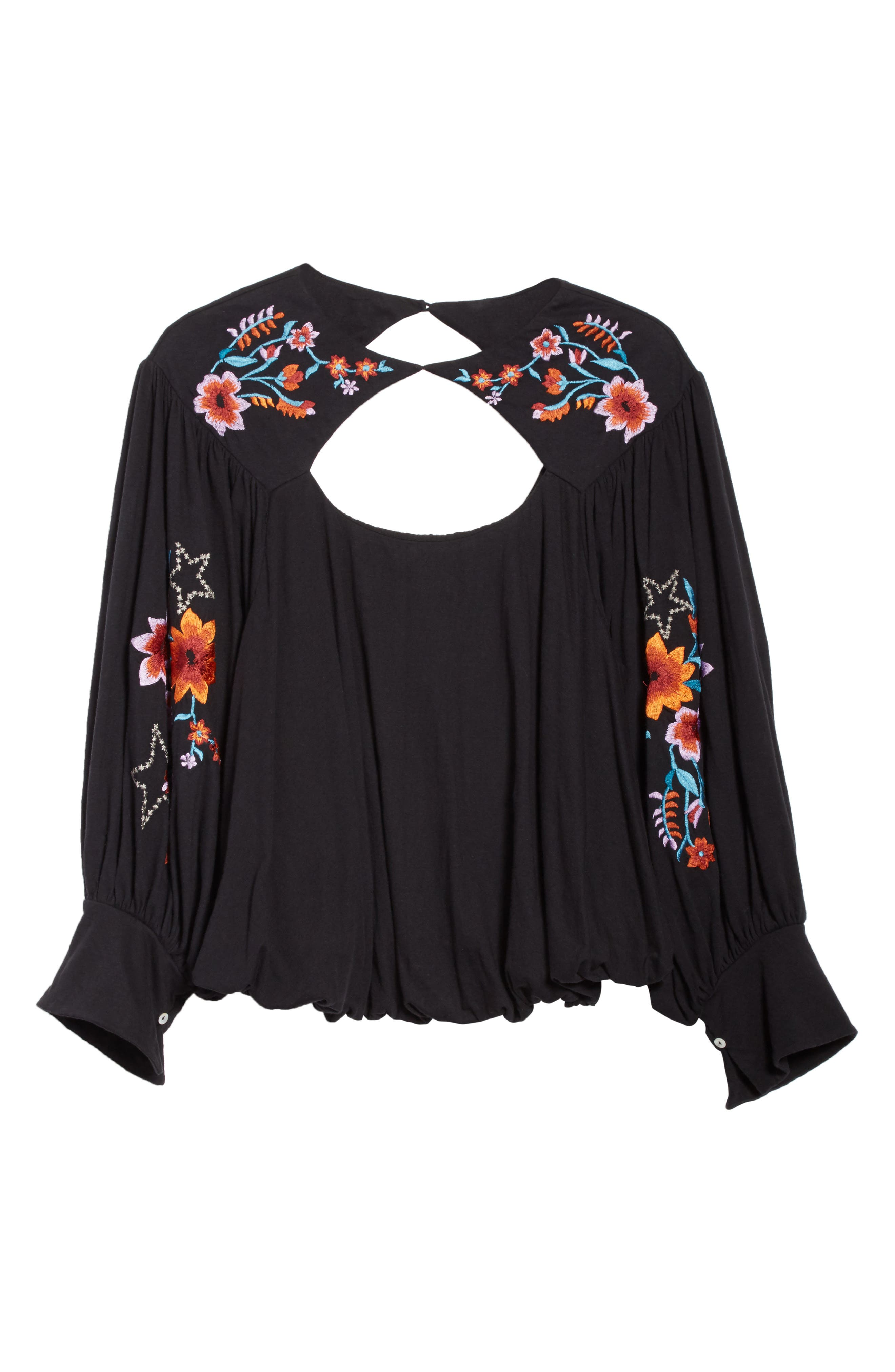 FREE PEOPLE,                             Lita Embroidered Bell Sleeve Top,                             Alternate thumbnail 6, color,                             001