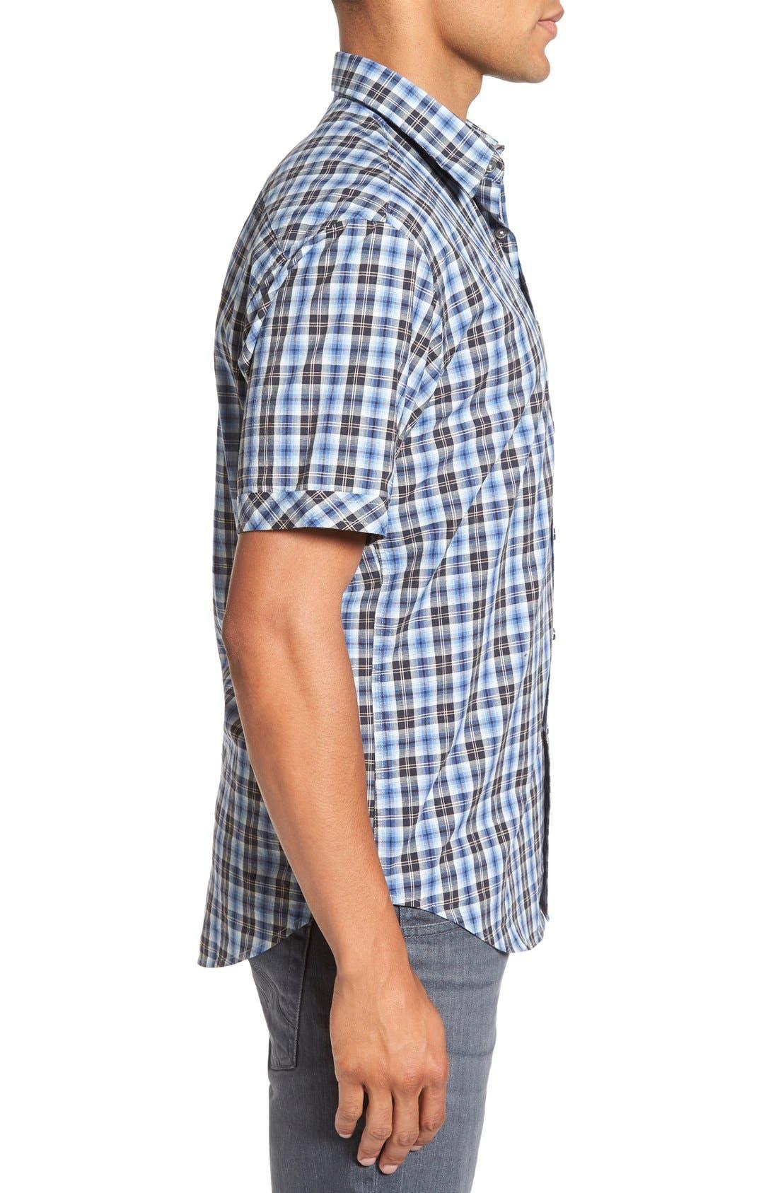 'Getafe' Regular Fit Short Sleeve Plaid Sport Shirt,                             Alternate thumbnail 3, color,                             450