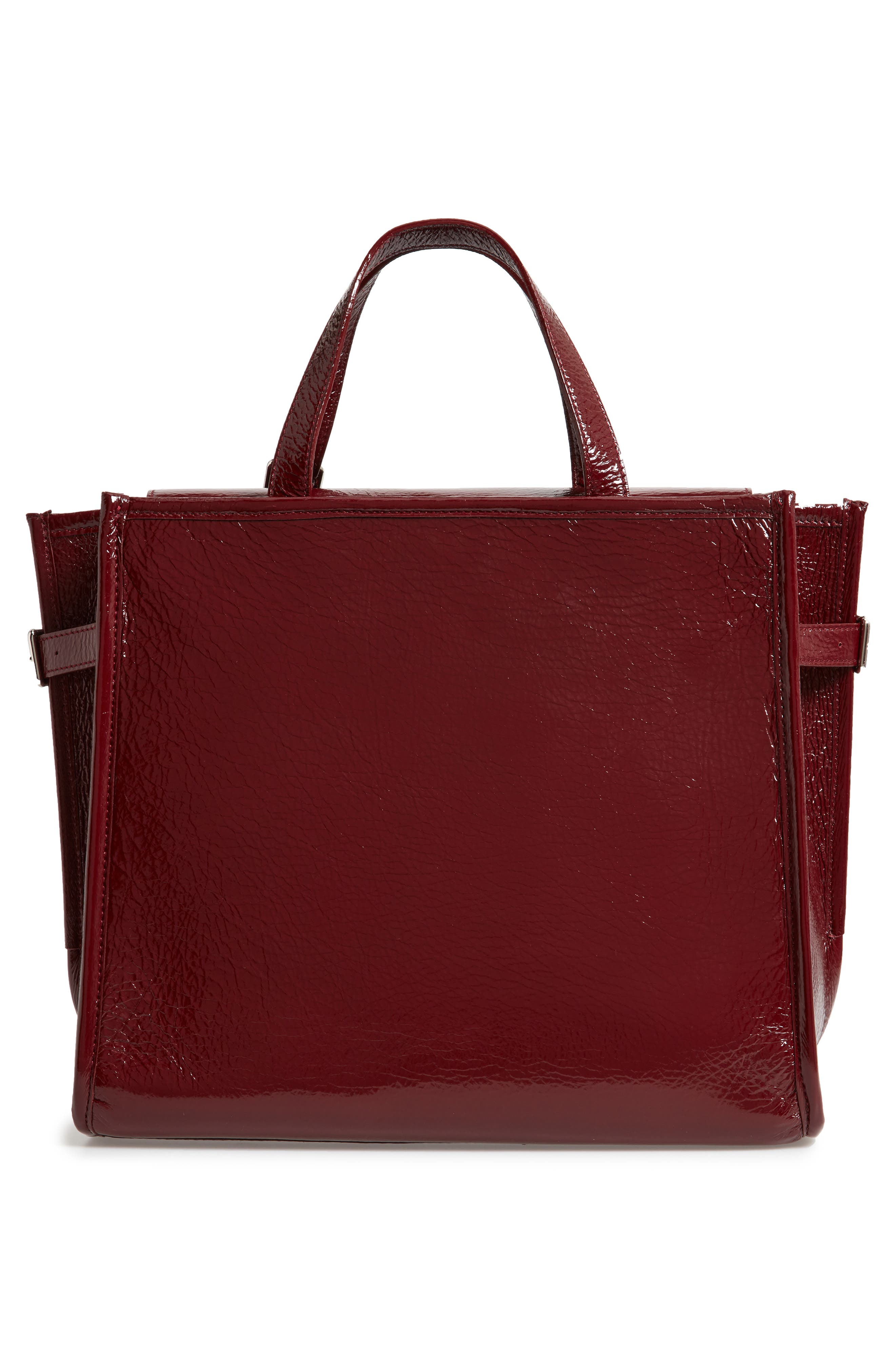 CALVIN KLEIN 209W39NYC East/West Leather Tote,                             Alternate thumbnail 3, color,                             DARK BURGUNDY