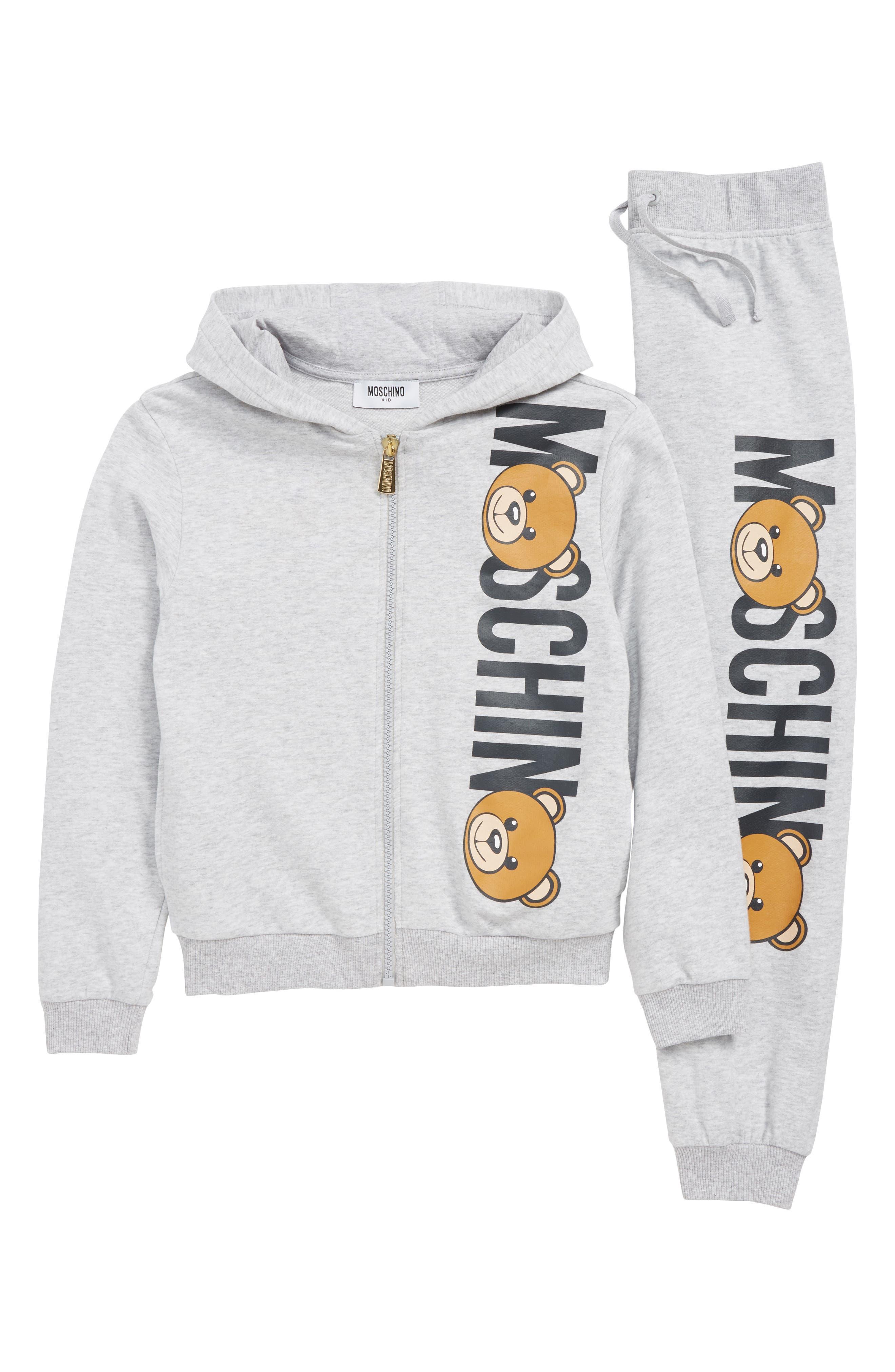 Toddler Moschino Logo Track Jacket  Jogger Pants Set Size 6Y  Grey