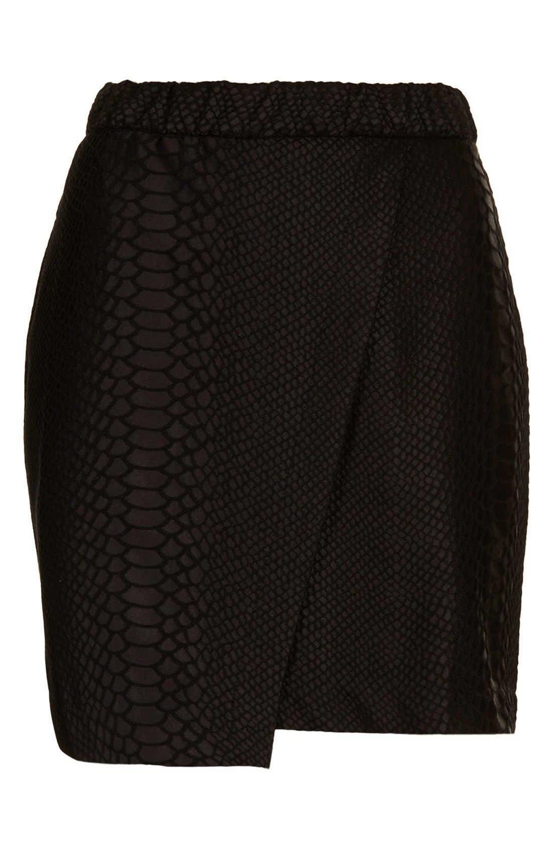 TOPSHOP,                             Snakeskin Motif Faux Wrap Skirt,                             Alternate thumbnail 3, color,                             001