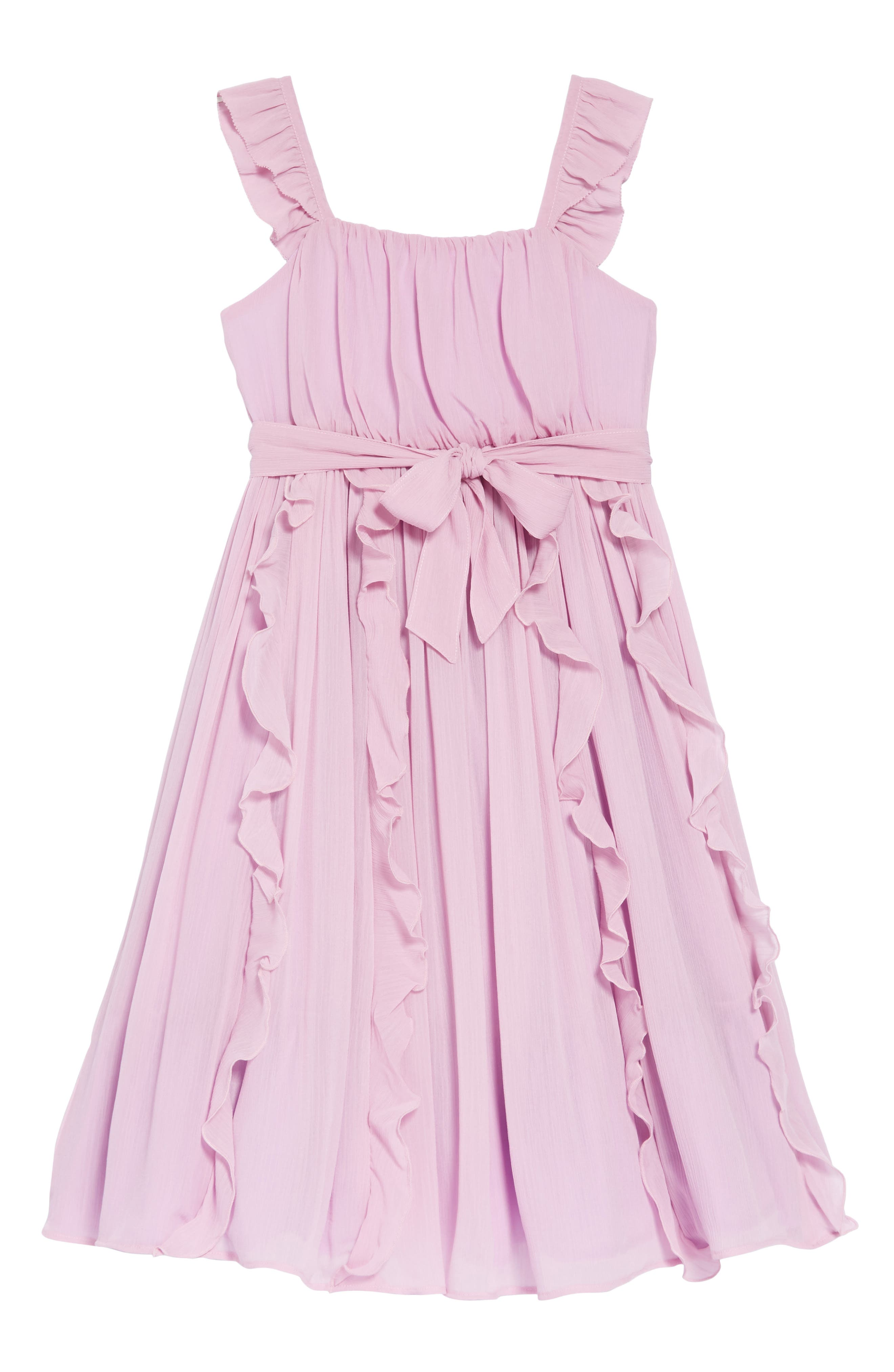 Ruffle Trim Chiffon Dress,                             Main thumbnail 1, color,                             SMOKY WISTERIA