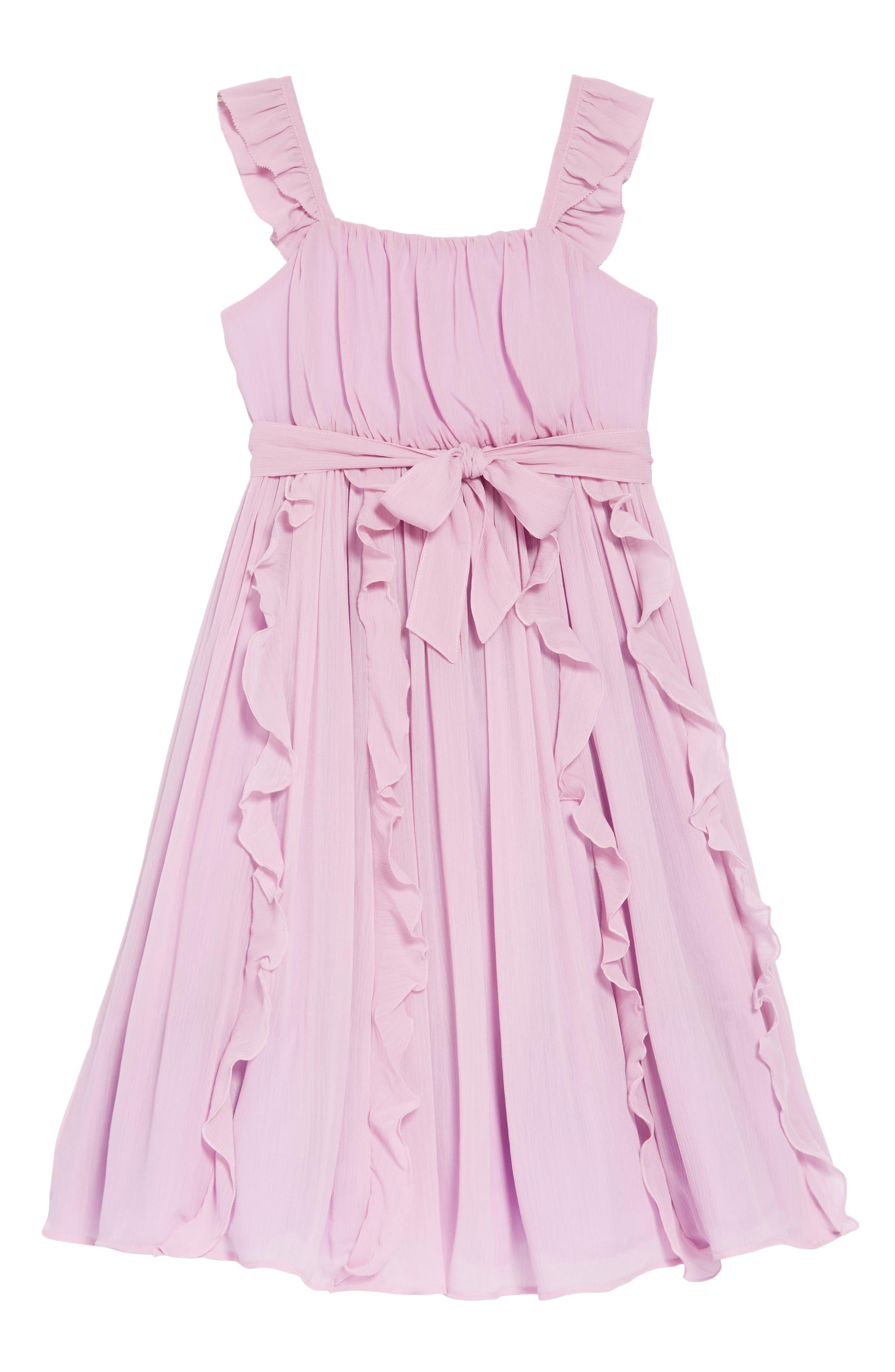 Ruffle Trim Chiffon Dress,                         Main,                         color, SMOKY WISTERIA