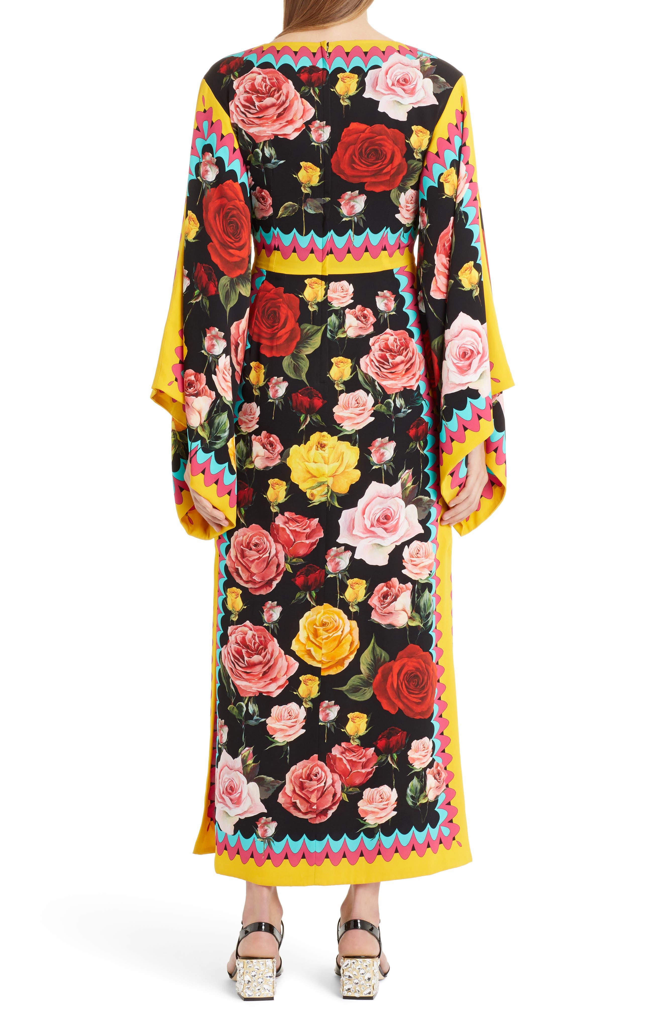 Charm Rose Print Stretch Silk Maxi Dress,                             Alternate thumbnail 2, color,                             001