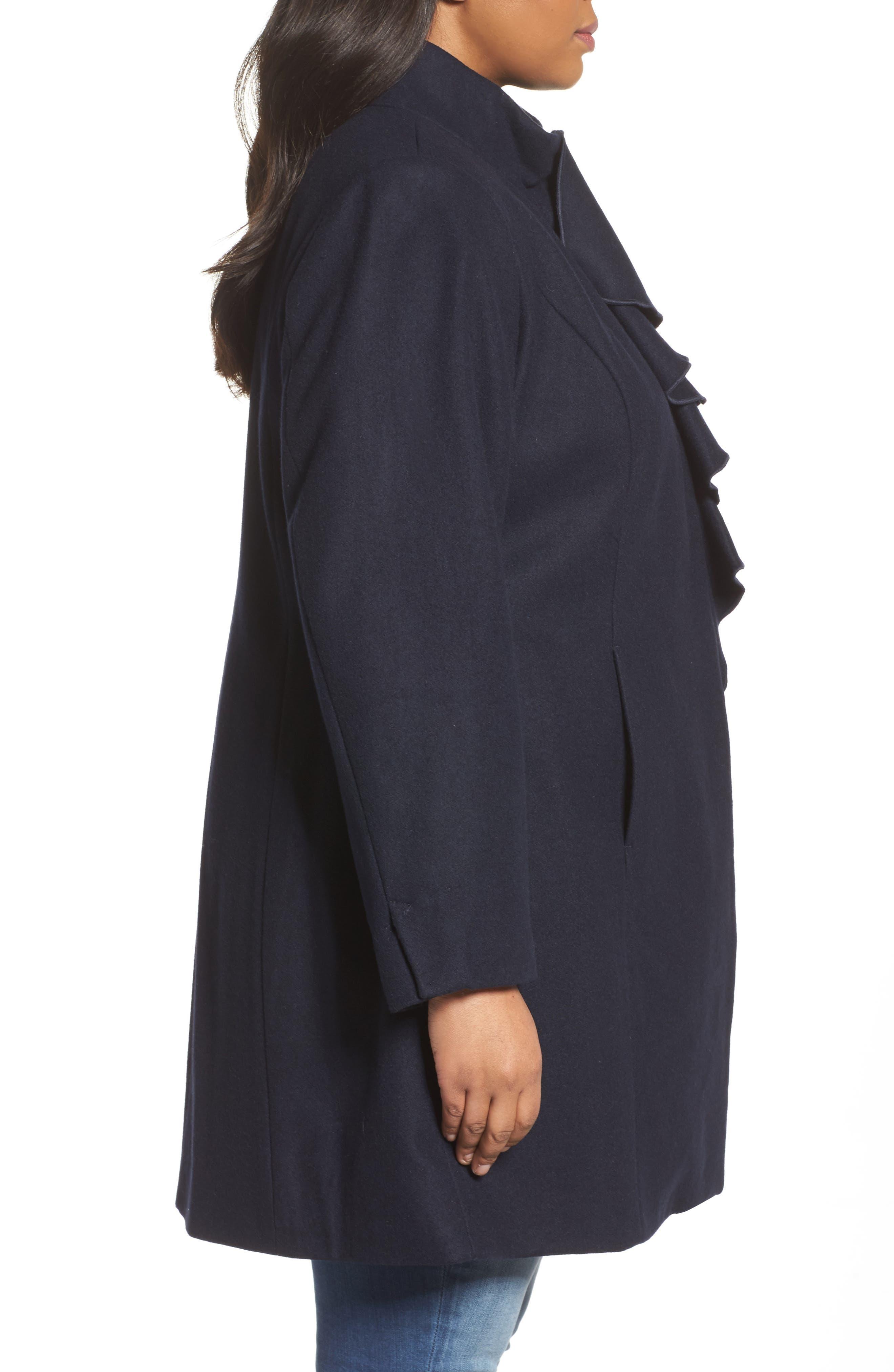 Kate Ruffle Wool Blend Coat,                             Alternate thumbnail 9, color,