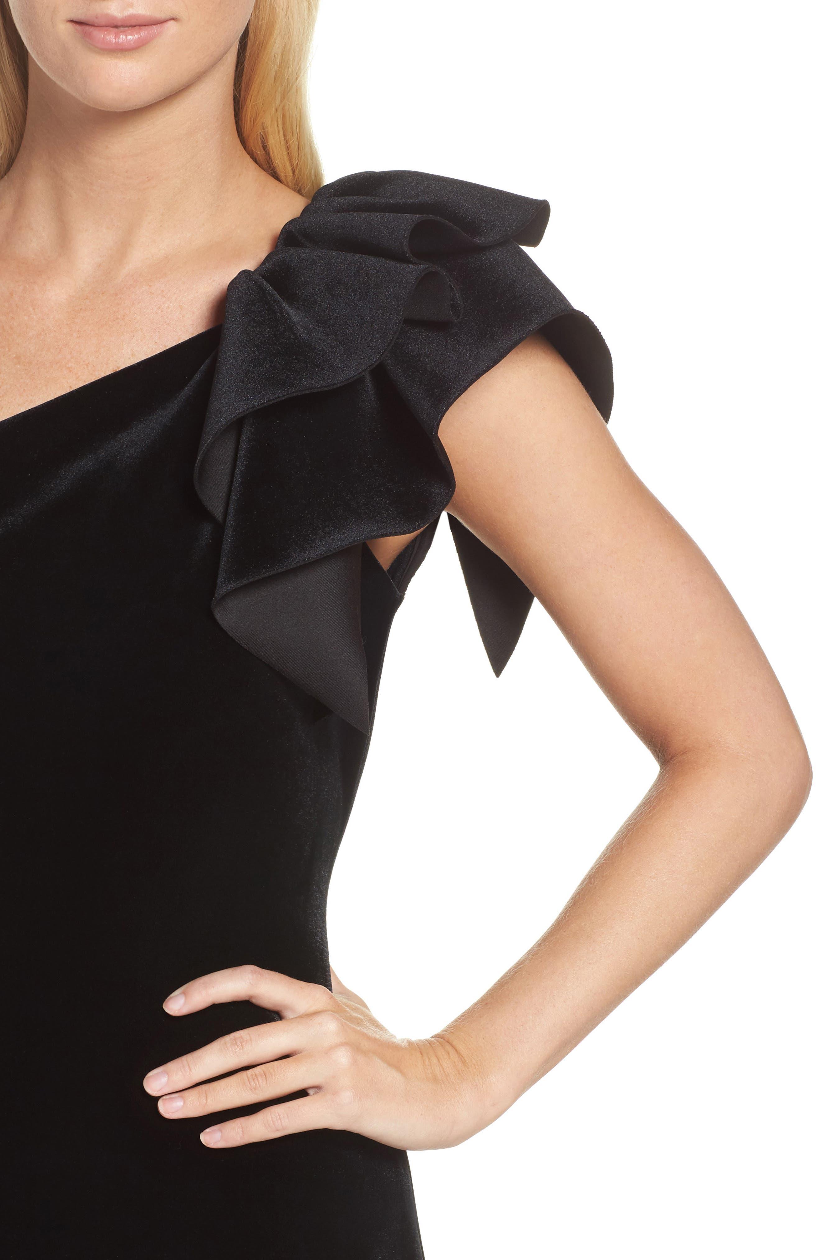 One-Shoulder Velvet Sheath Dress,                             Alternate thumbnail 4, color,                             BLACK