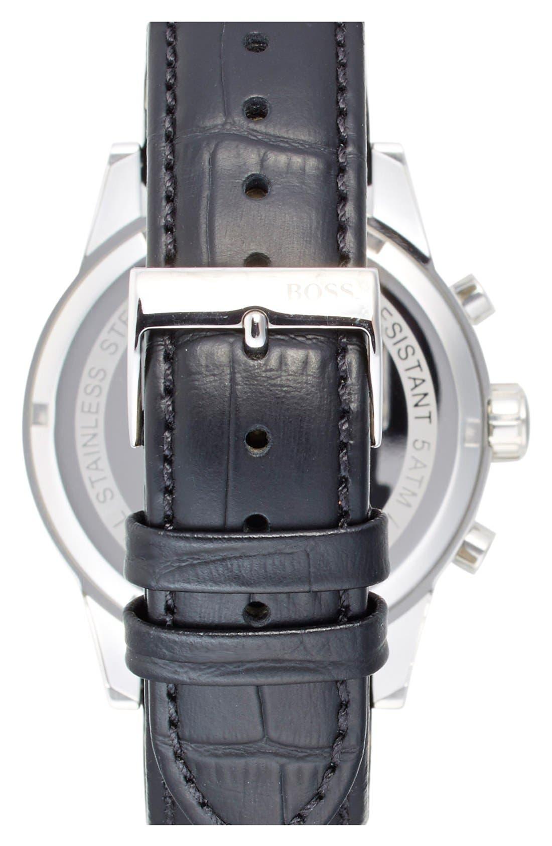 'Jet Sport' Chronograph Leather Strap Watch, 41mm,                             Alternate thumbnail 3, color,                             WHITE/ BLACK