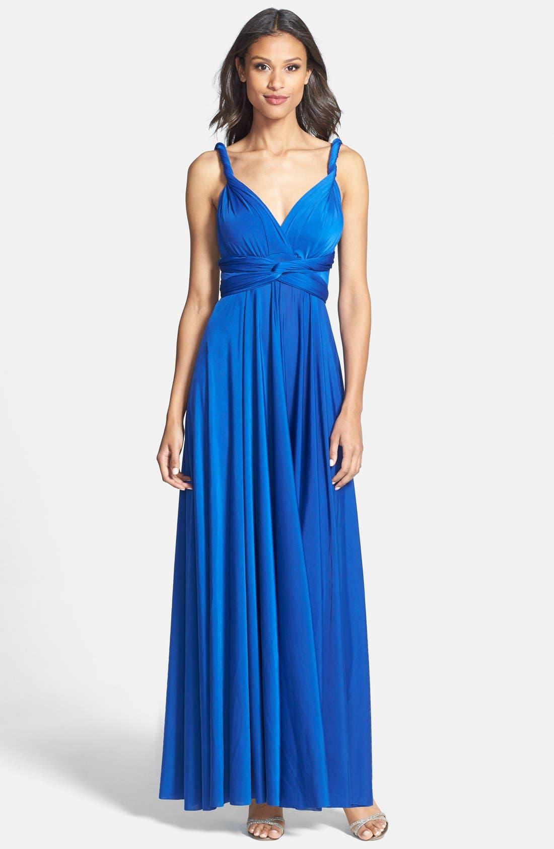Convertible Wrap Tie Surplice Jersey Gown,                             Main thumbnail 2, color,