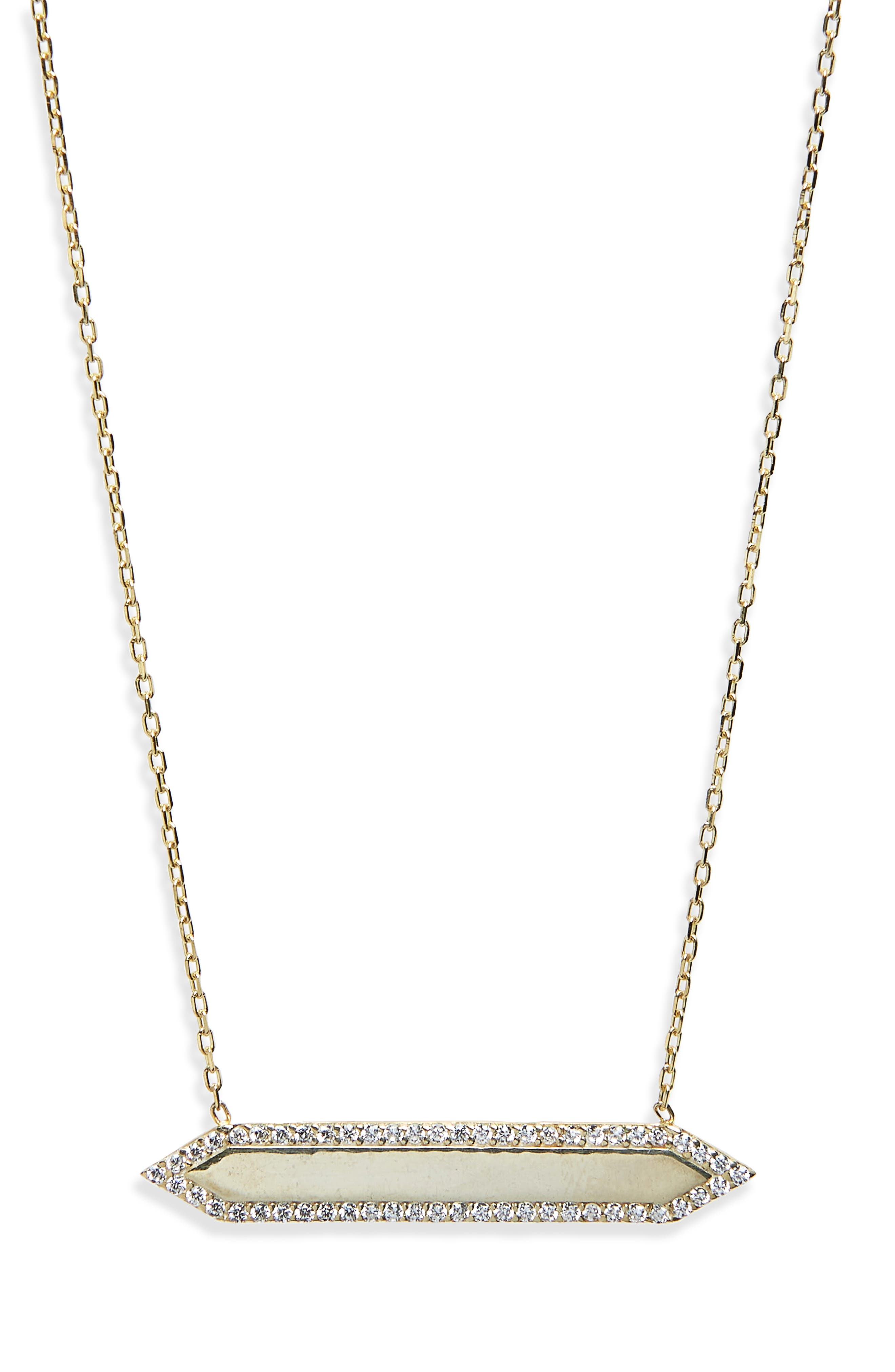 Mariah Pavé Crystal Bar Pendant Necklace,                             Main thumbnail 1, color,                             YELLOW GOLD