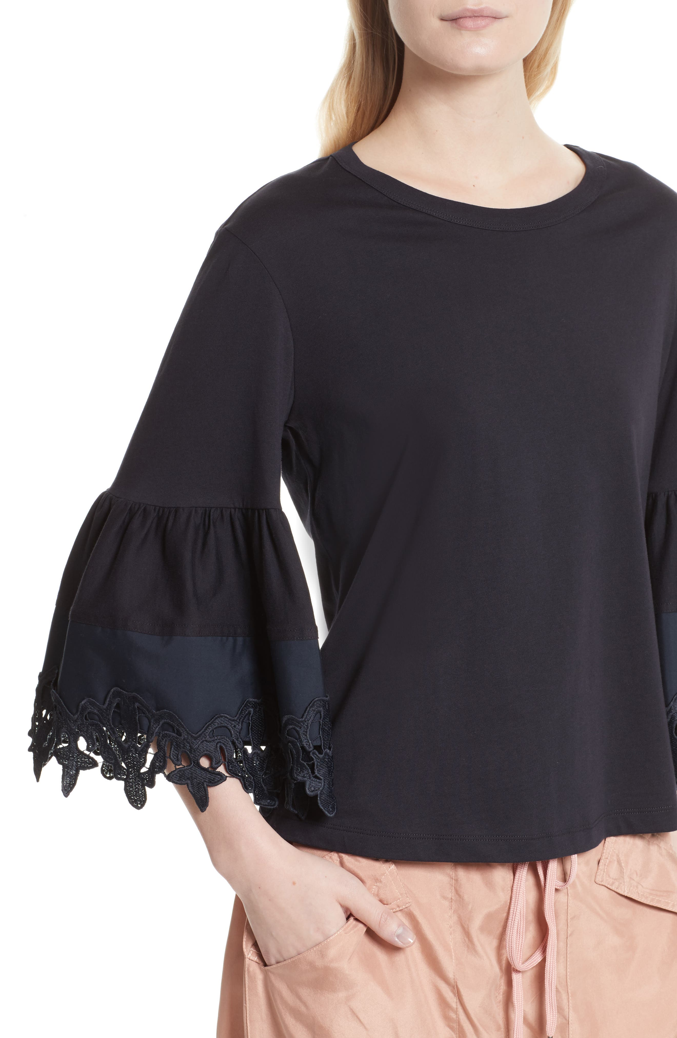 Lace Trim Bell Sleeve Top,                             Alternate thumbnail 4, color,                             001