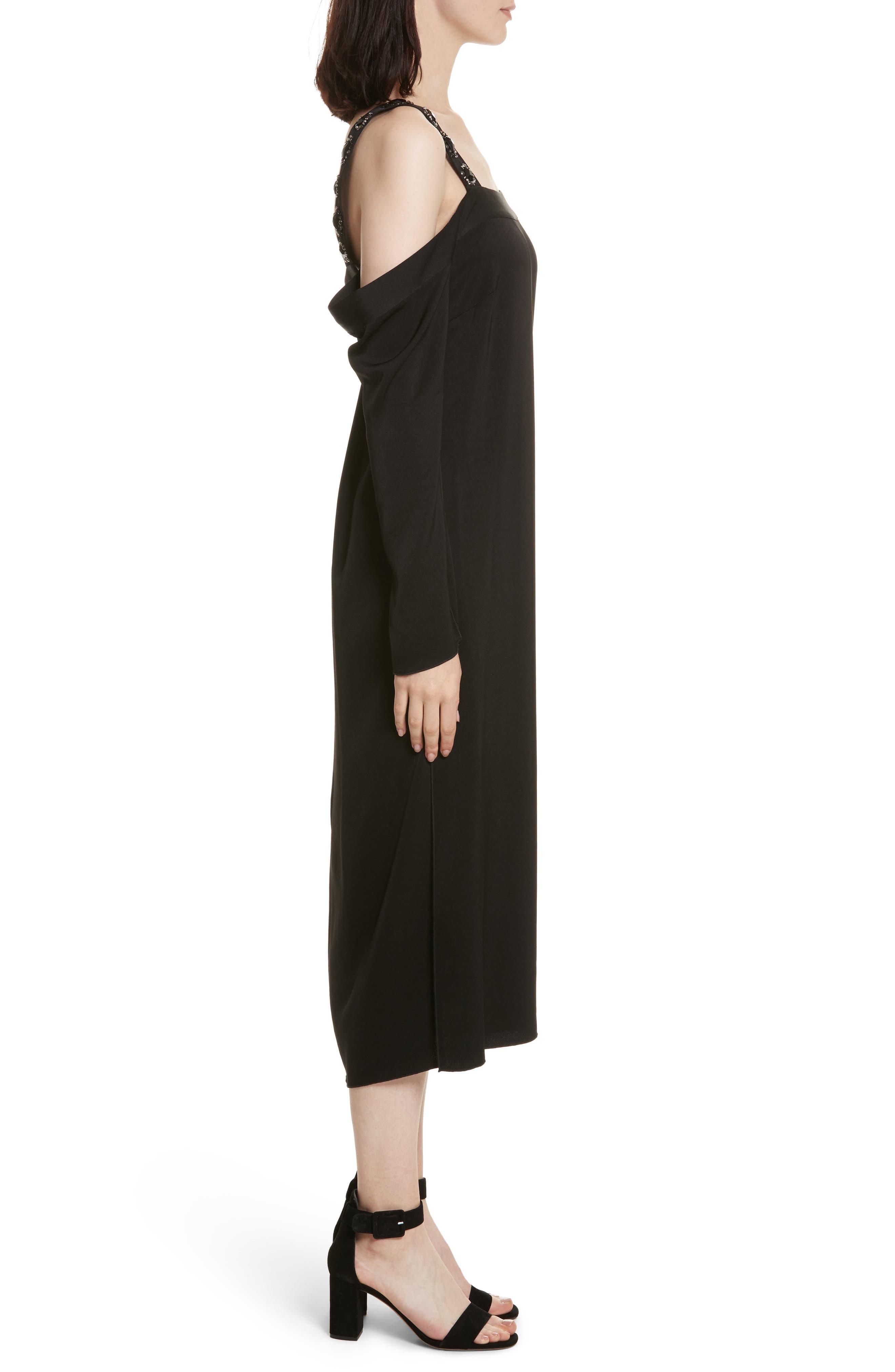 Fynn Embellished Cold Shoulder Midi Dress,                             Alternate thumbnail 3, color,                             001