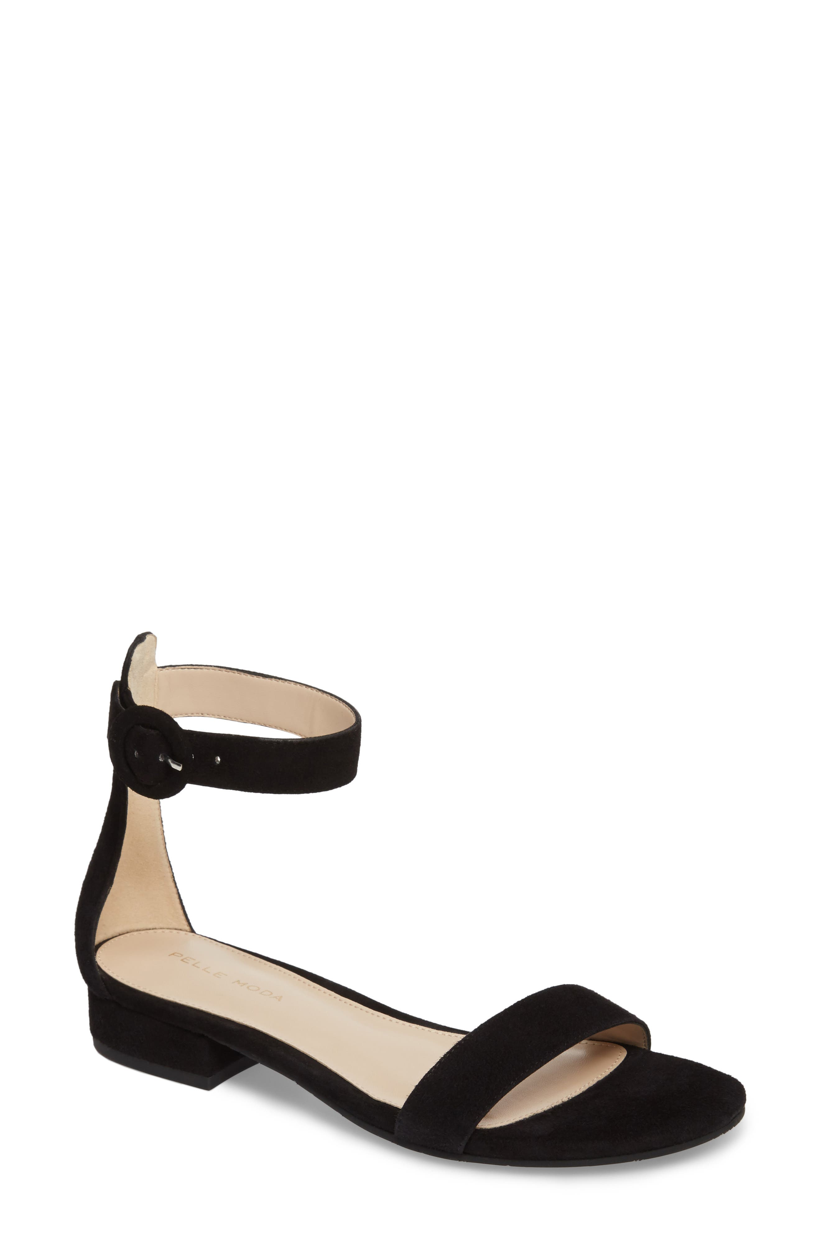 PELLE MODA Newport Sandal, Main, color, BLACK SUEDE