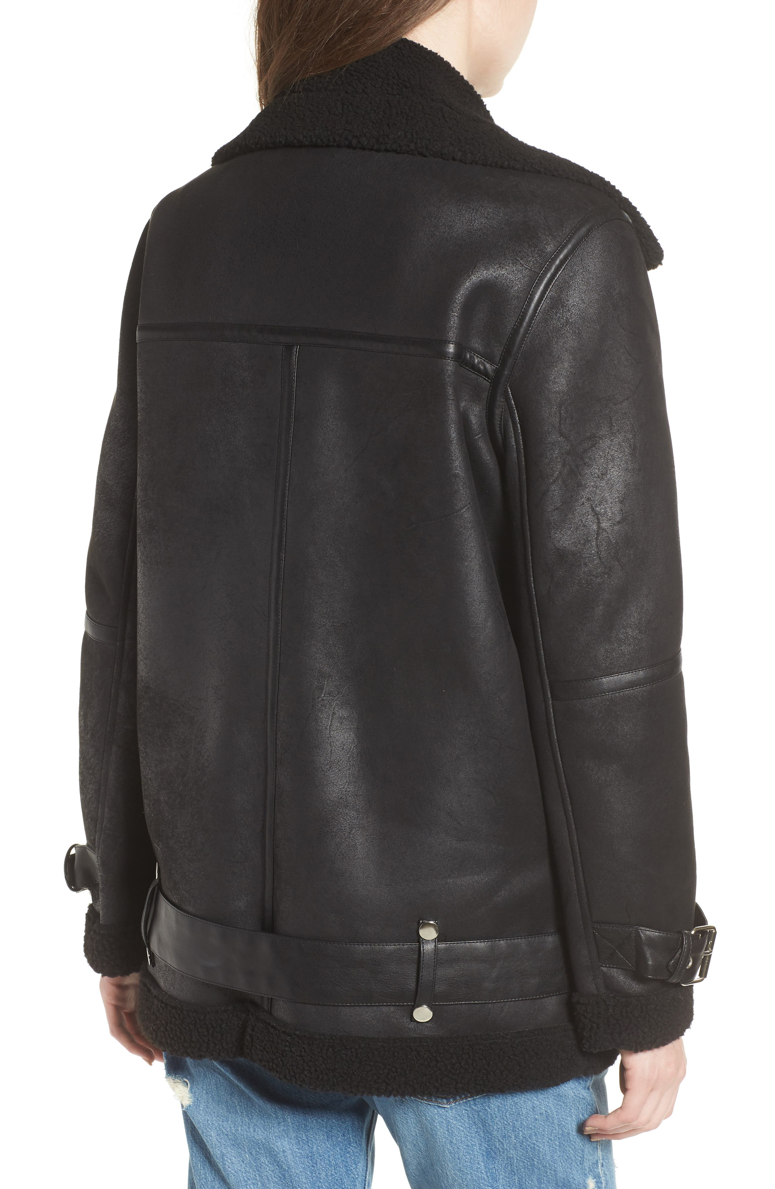 Faux Shearling Biker Jacket,                             Alternate thumbnail 2, color,                             BLACK