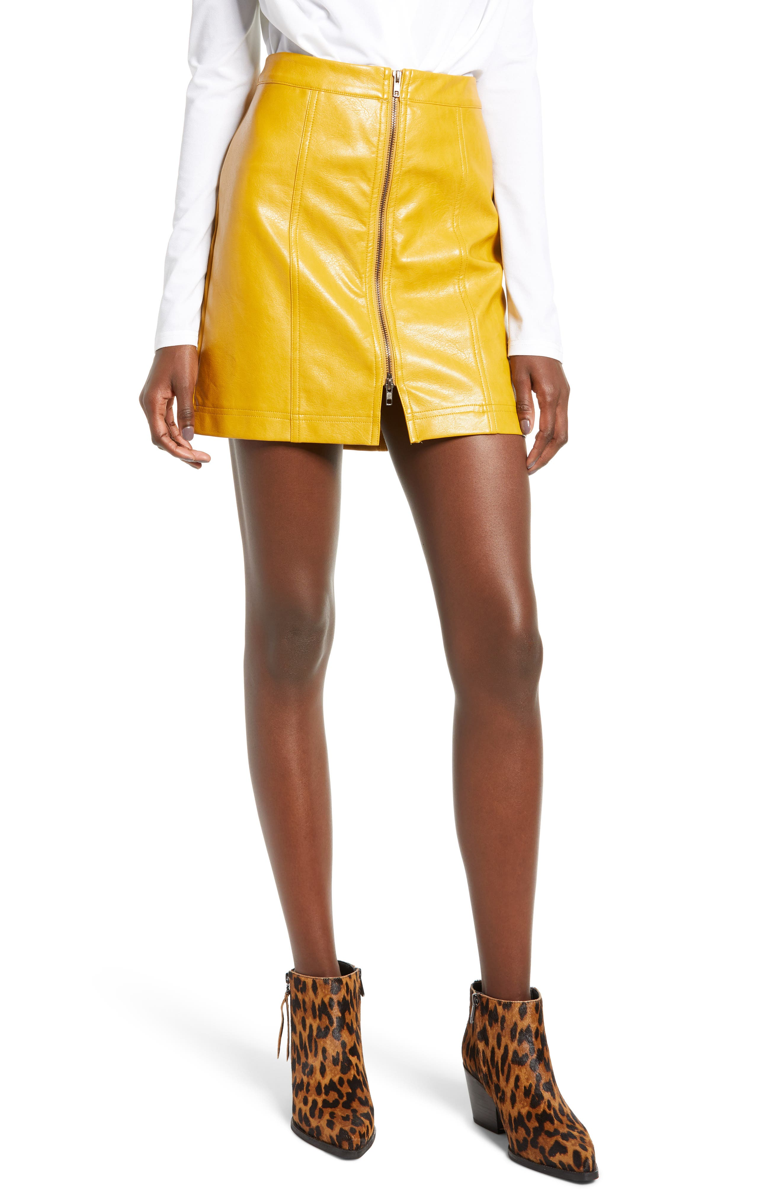 Zip Front Faux Leather Miniskirt, Main, color, MUSTARD
