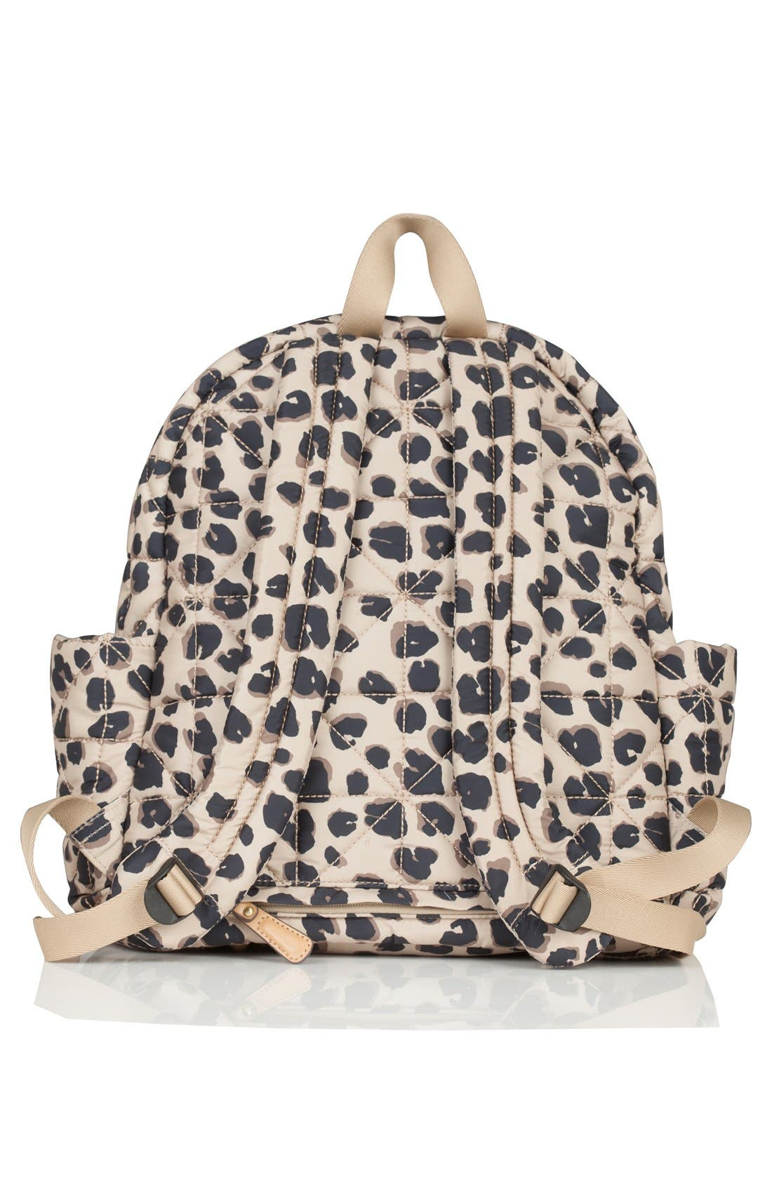 Quilted Water Resistant Nylon Diaper Backpack,                             Alternate thumbnail 7, color,                             LEOPARD PRINT