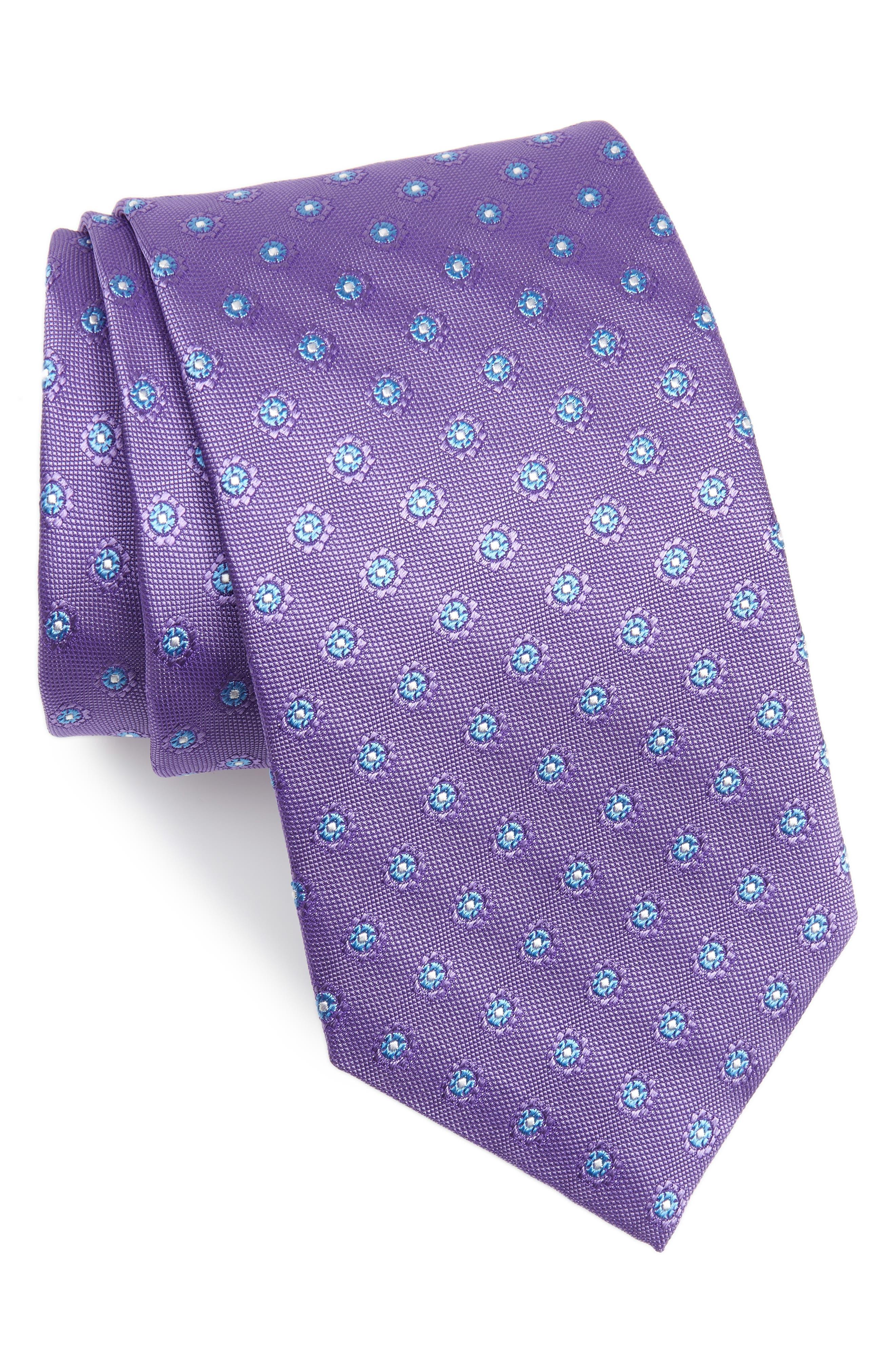 DAVID DONAHUE Flower Medallion Silk X-Long Tie, Main, color, PURPLE