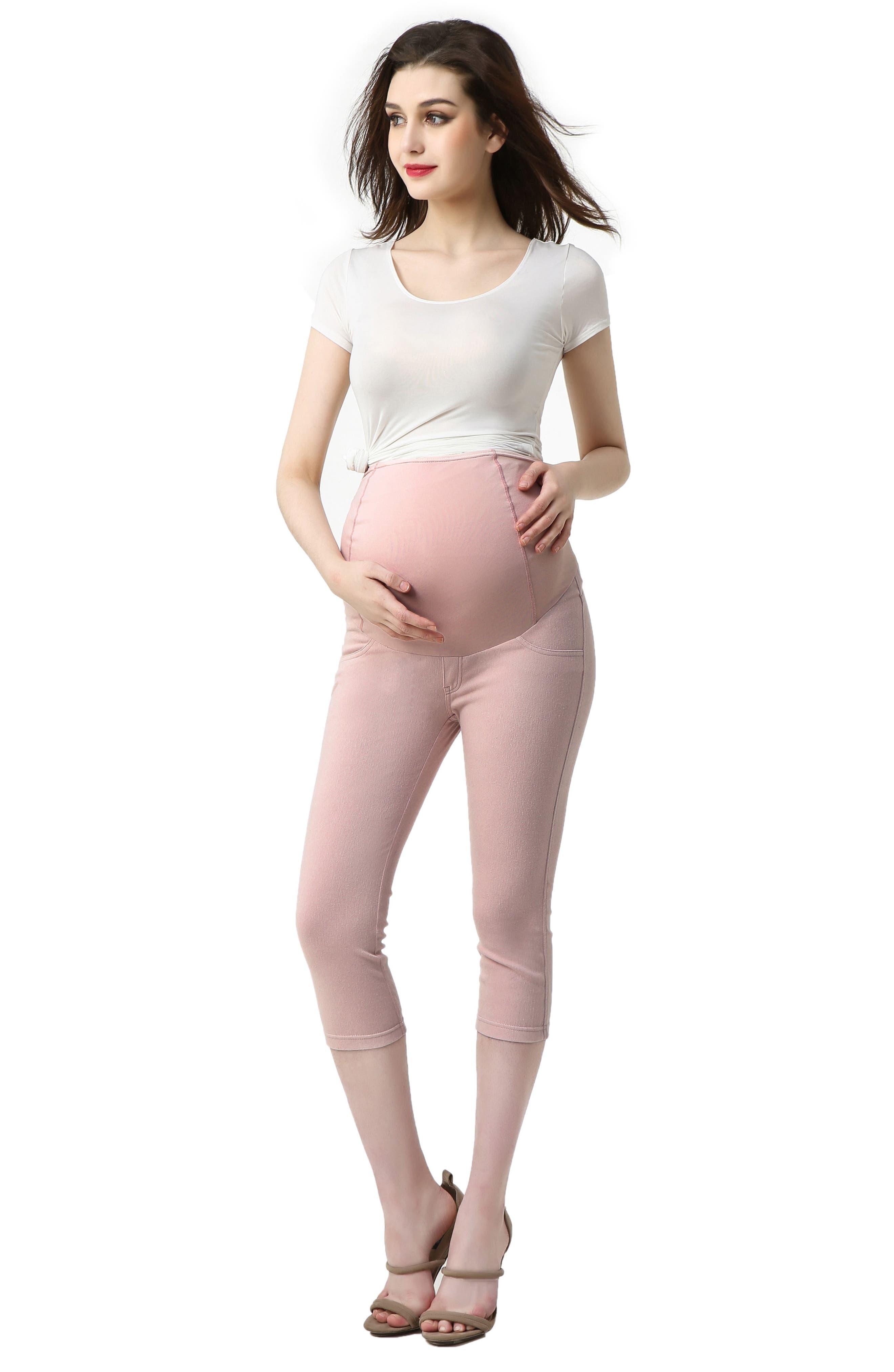 Melody Capri Denim Maternity Leggings,                             Alternate thumbnail 5, color,                             WHITE