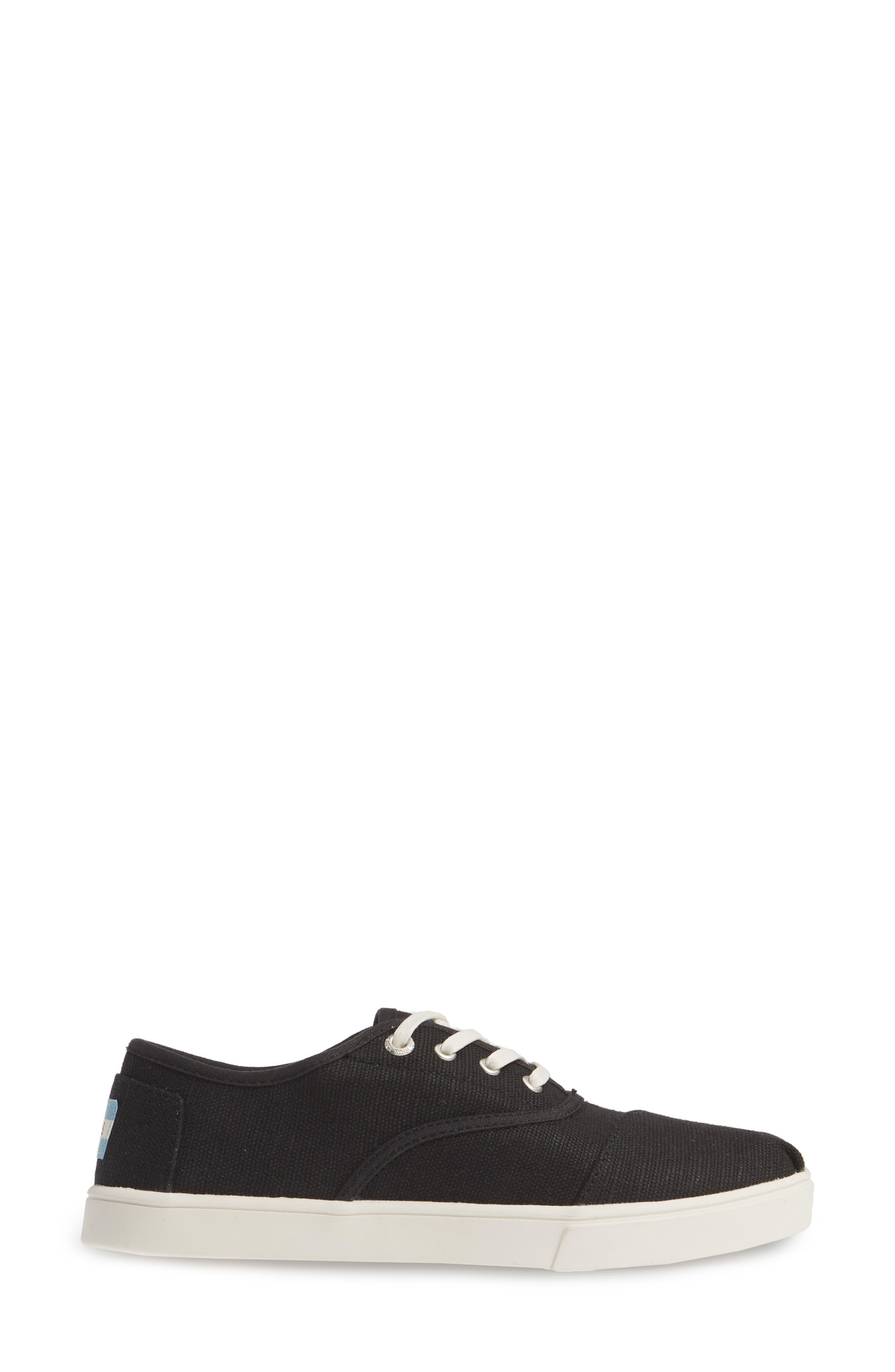 TOMS,                             Cordones Sneaker,                             Alternate thumbnail 3, color,                             BLACK HERITAGE CANVAS