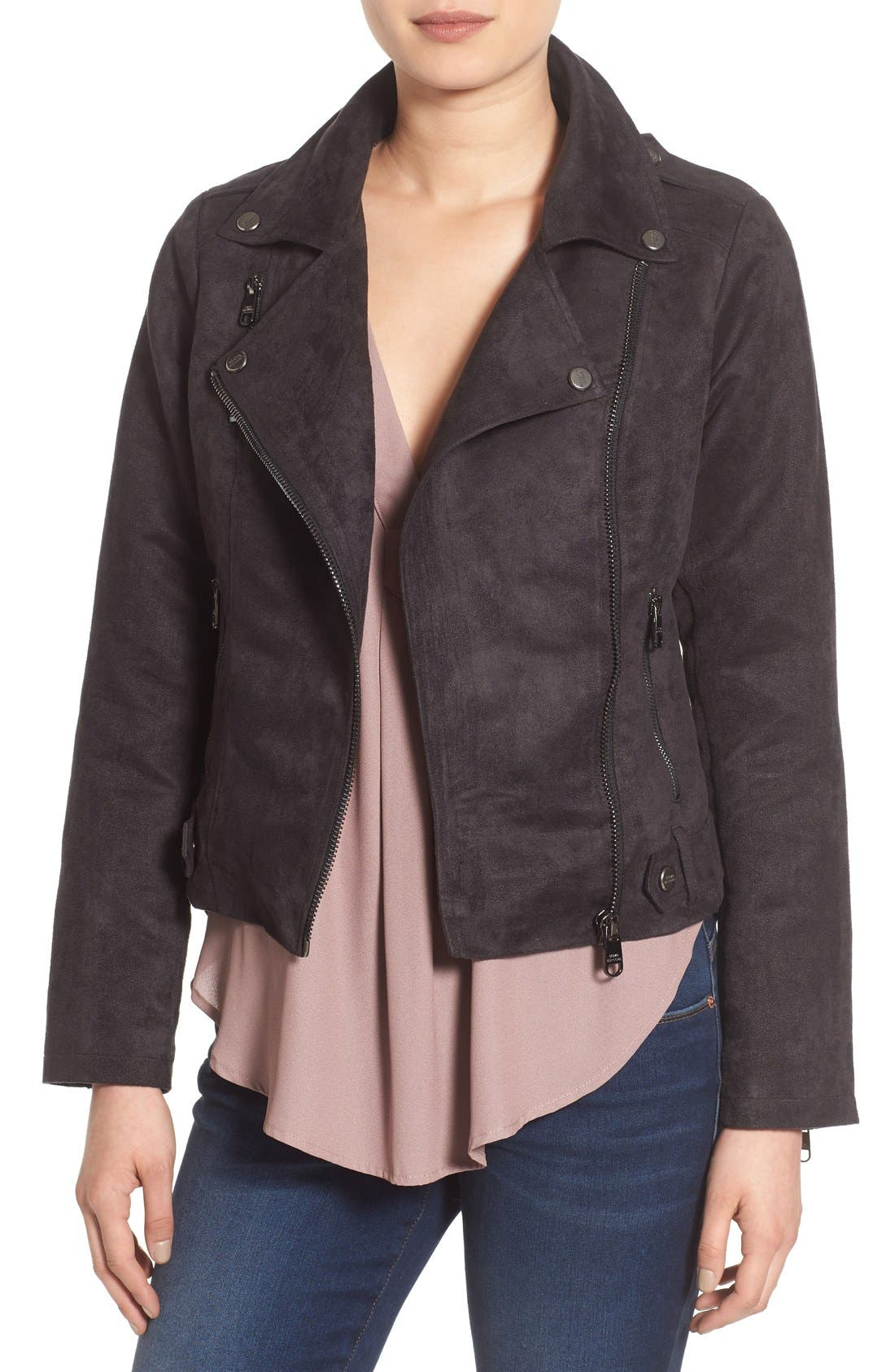 Faux Suede Moto Jacket,                         Main,                         color, 001
