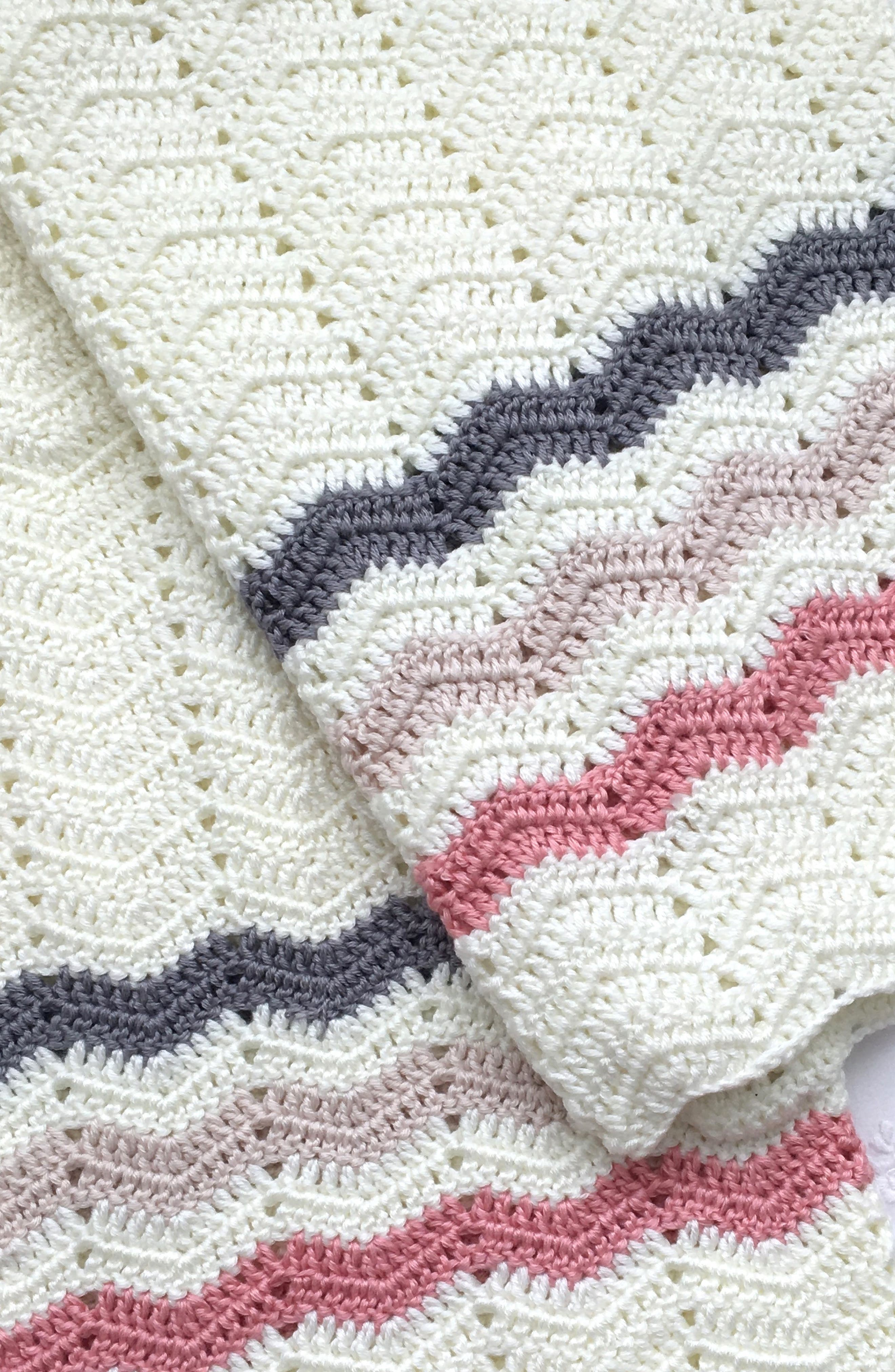 Ripple Crocheted Blanket,                         Main,                         color, PINK
