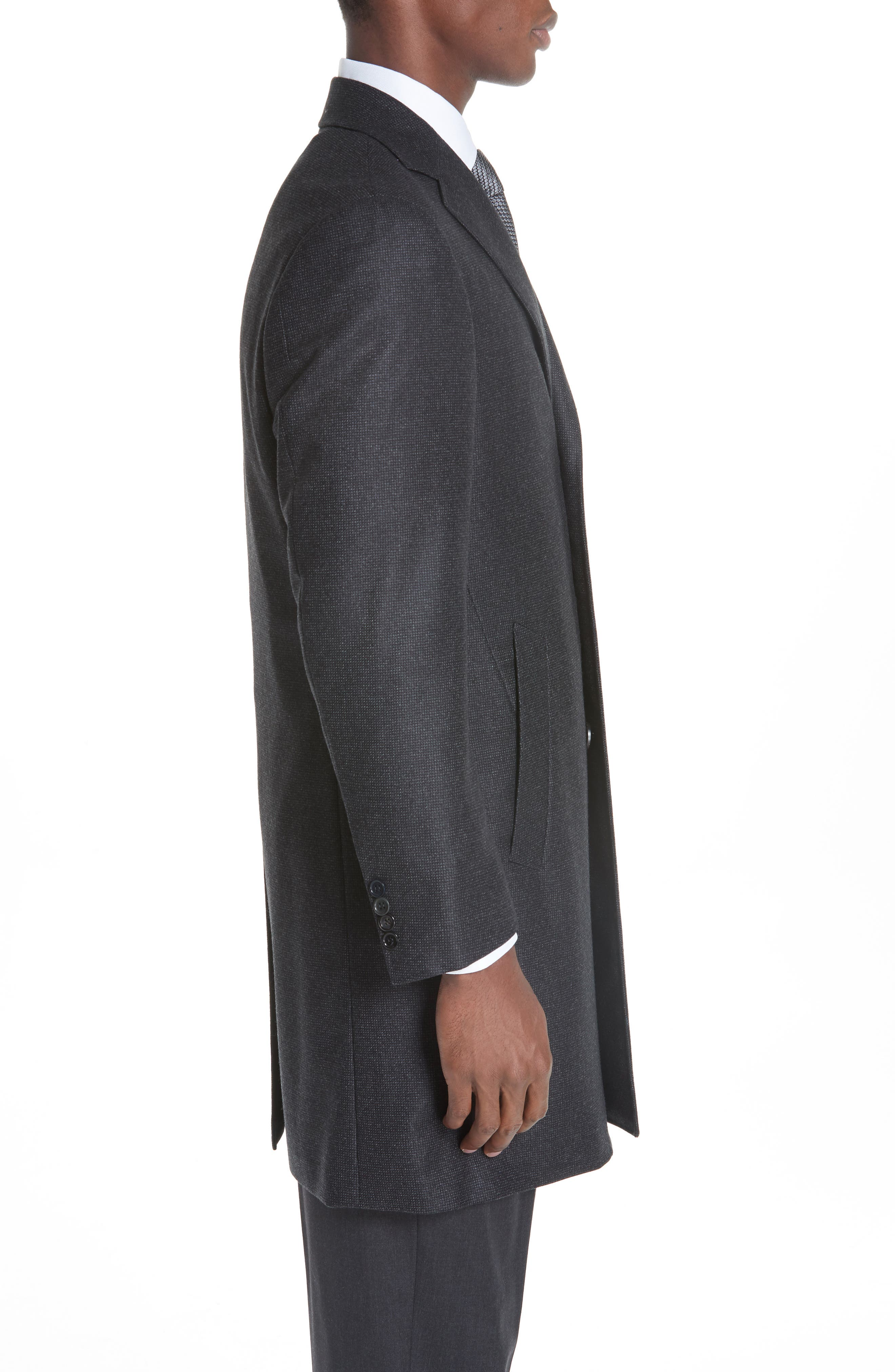 Solid Wool Top Coat,                             Alternate thumbnail 3, color,                             CHARCOAL