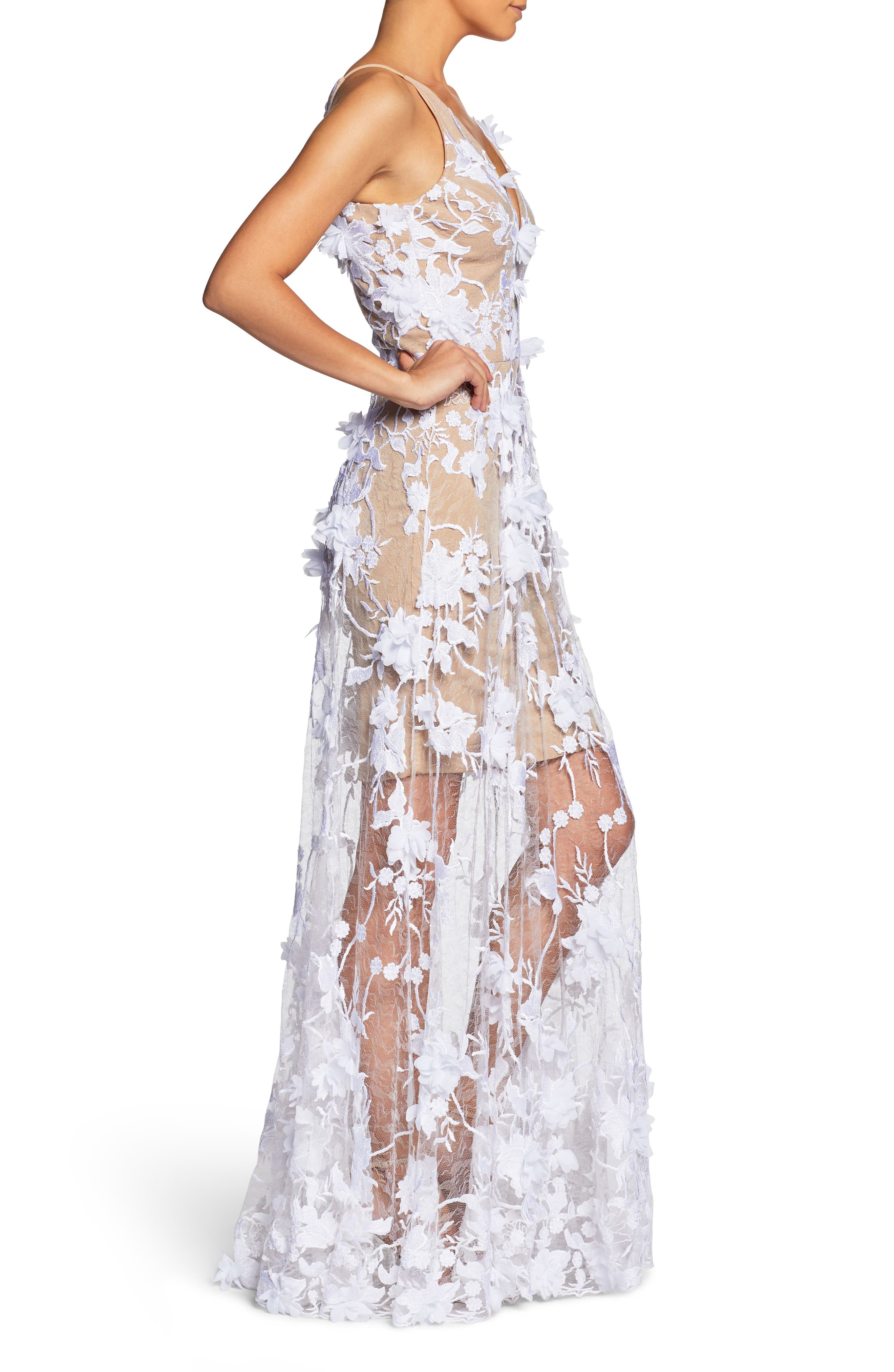 Sidney Deep V-Neck 3D Lace Gown,                             Alternate thumbnail 8, color,