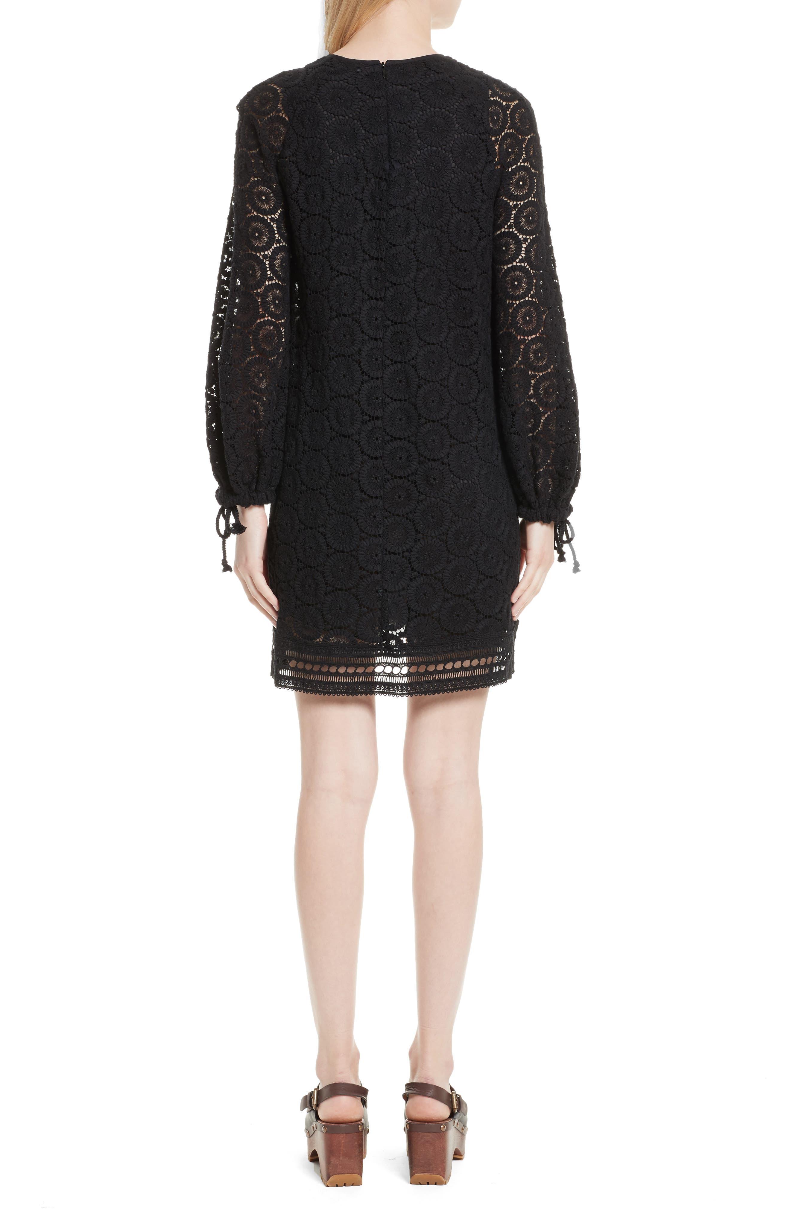Cotton Crochet Shift Dress,                             Alternate thumbnail 2, color,                             001