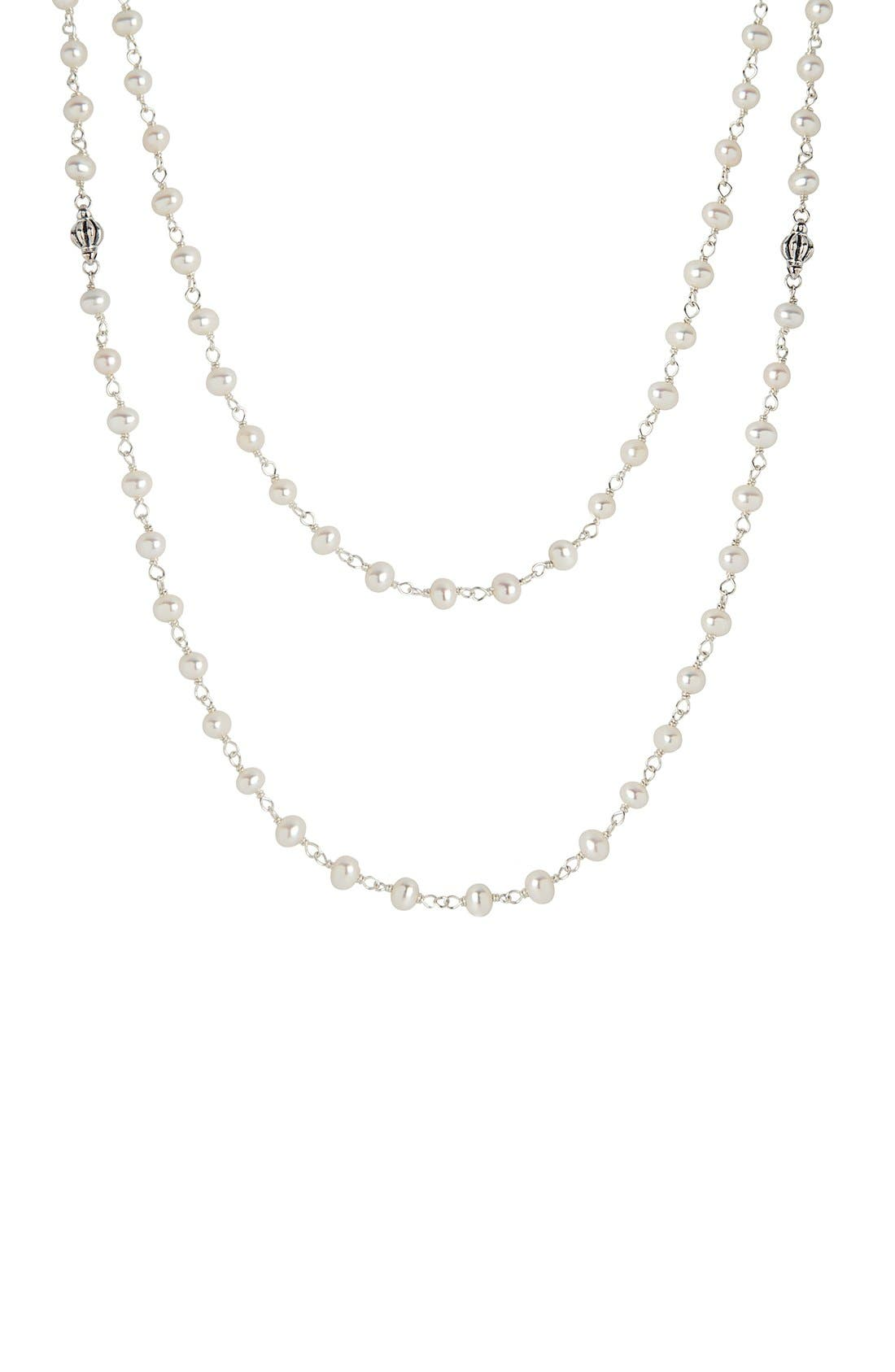 'Luna' Long Pearl Necklace,                             Alternate thumbnail 2, color,                             SILVER/ PEARL