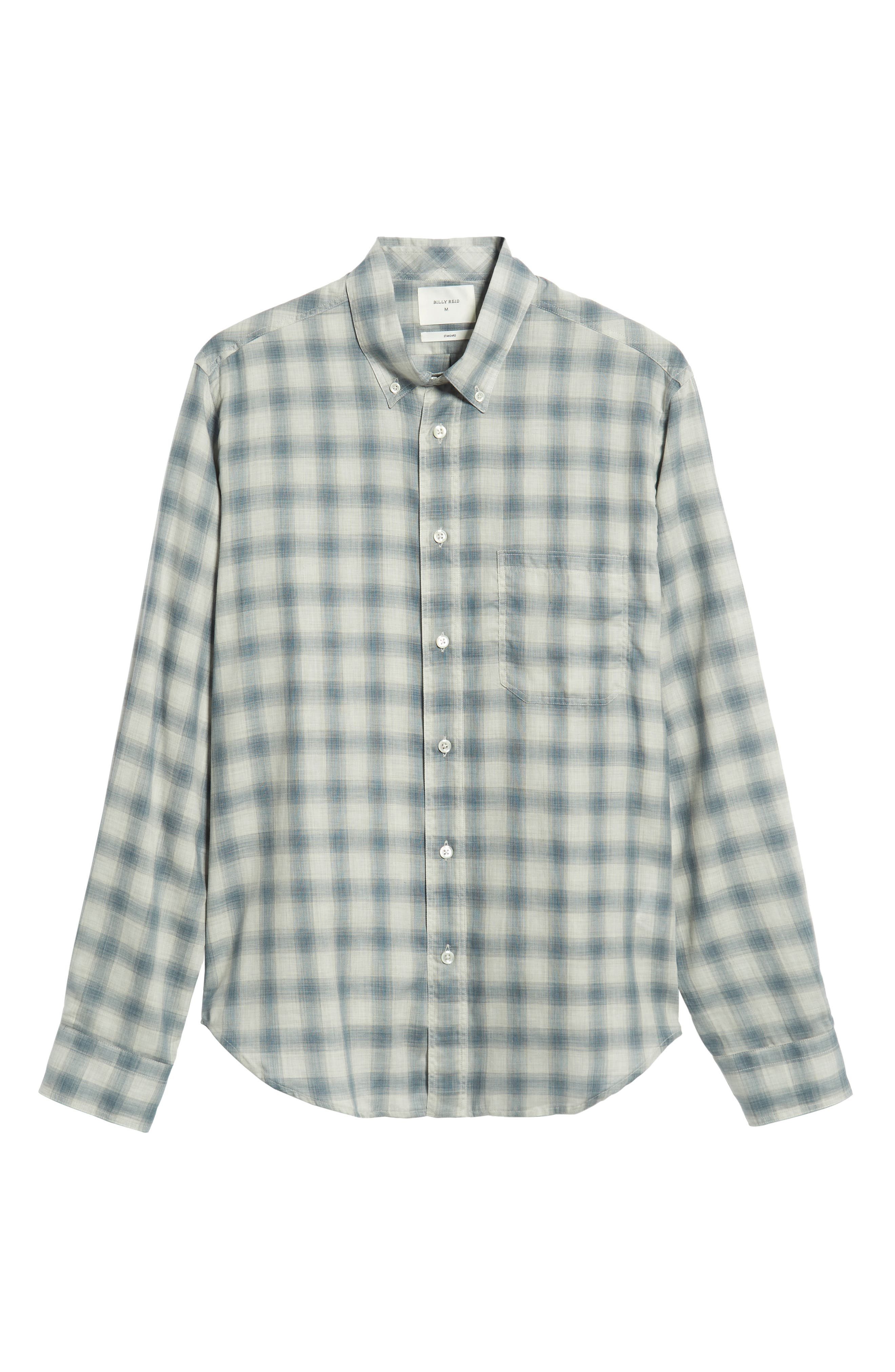 Tuscumbia Regular Fit Pattern Sport Shirt,                             Alternate thumbnail 5, color,                             BLUE/ GREY