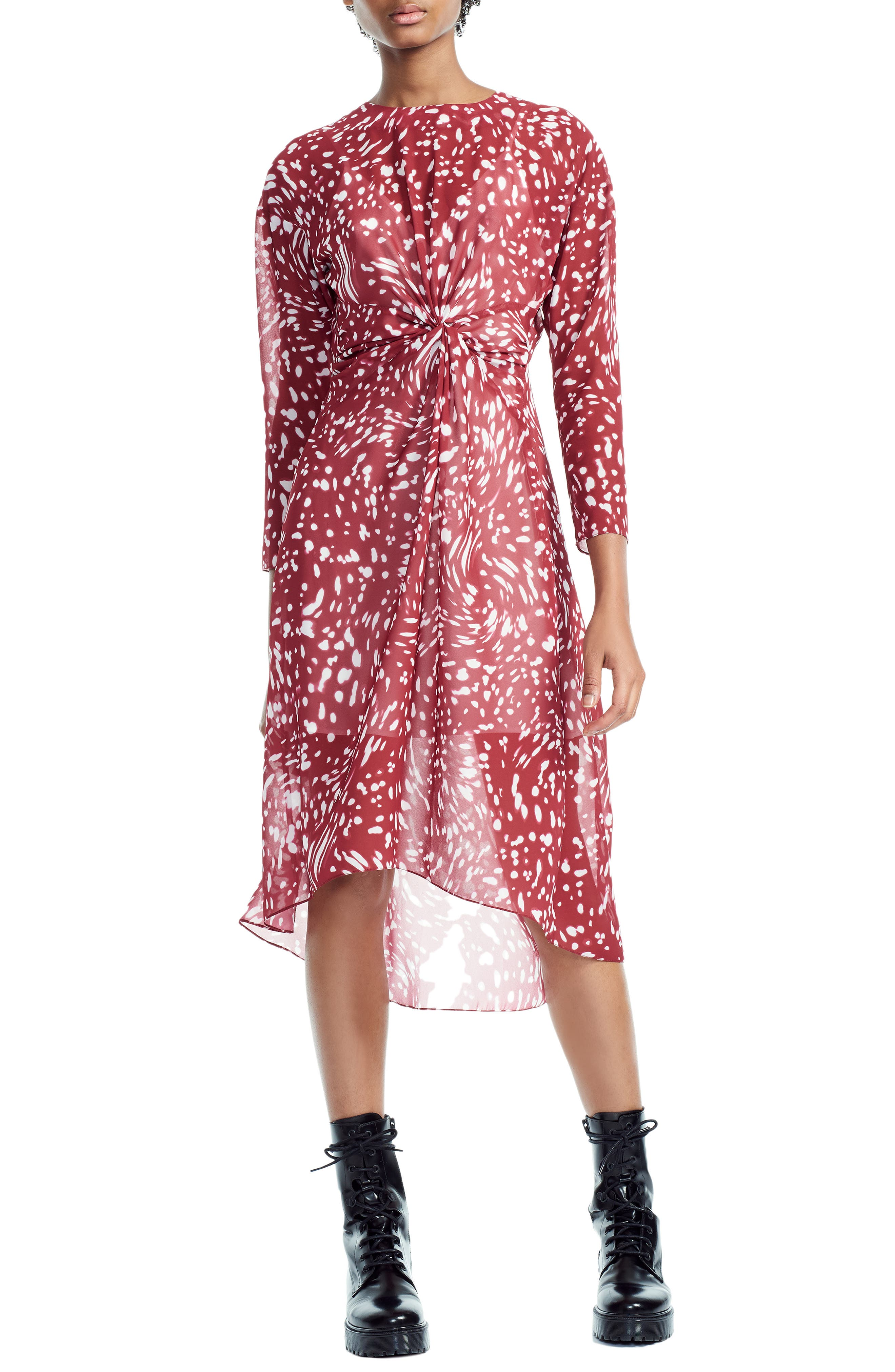 Twist Front High/Low Dress in Printed