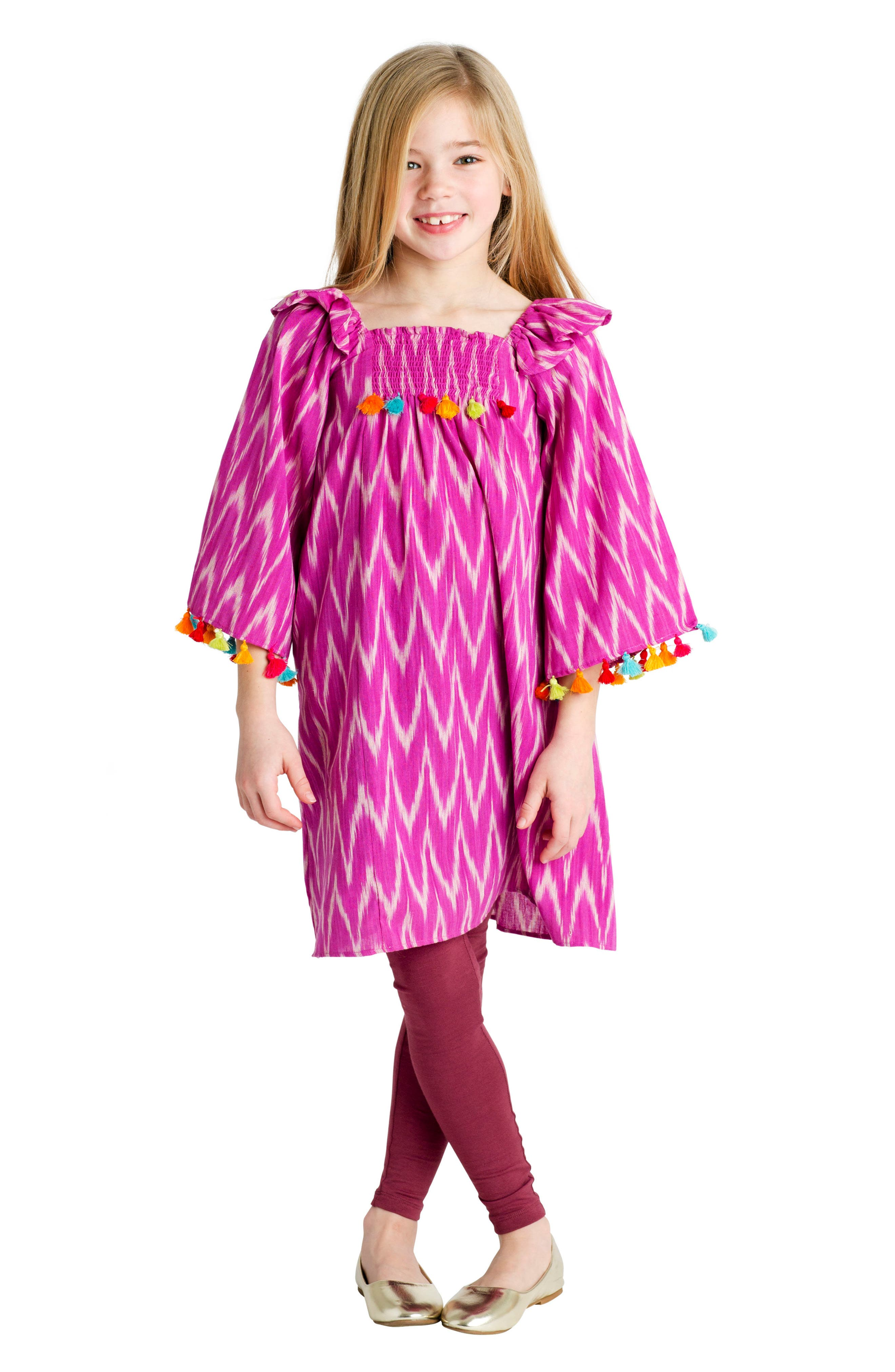Rosy Ikat Dress,                             Main thumbnail 1, color,                             504