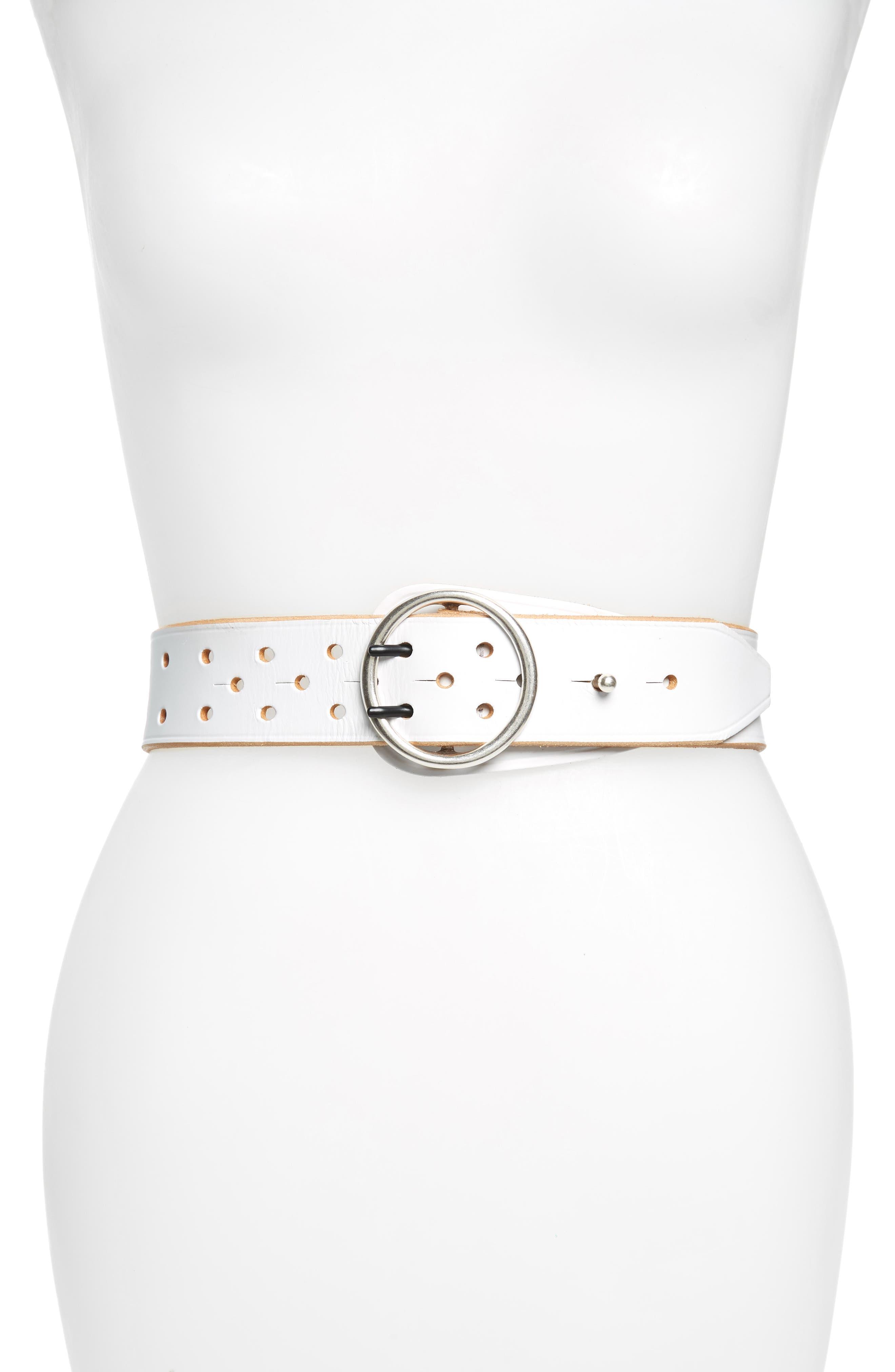 Rag & Bone Flight Leather Belt, White Tan